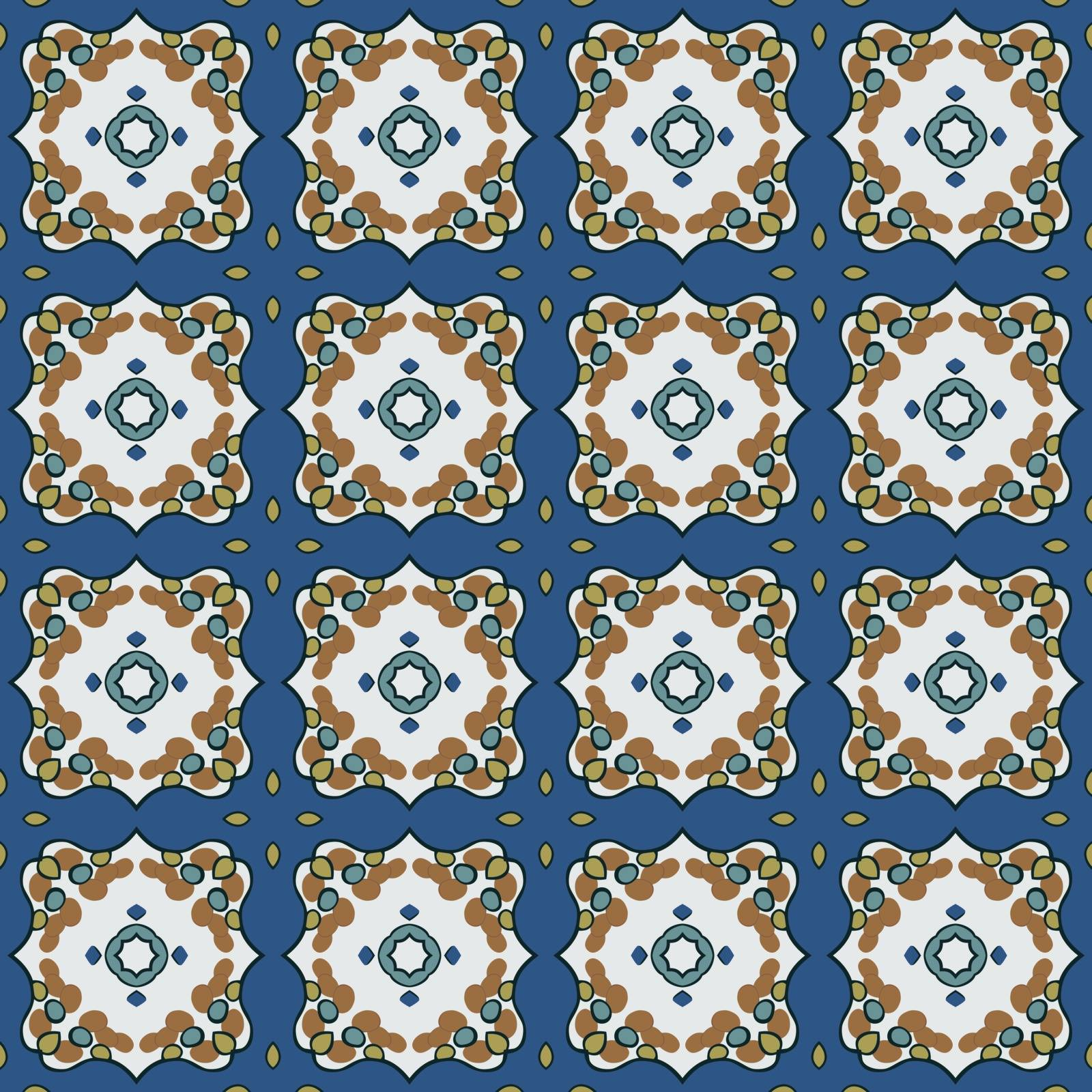 Seamless illustrated pattern made of abstract elements in white, yellow, turquoise, blue, brown and black