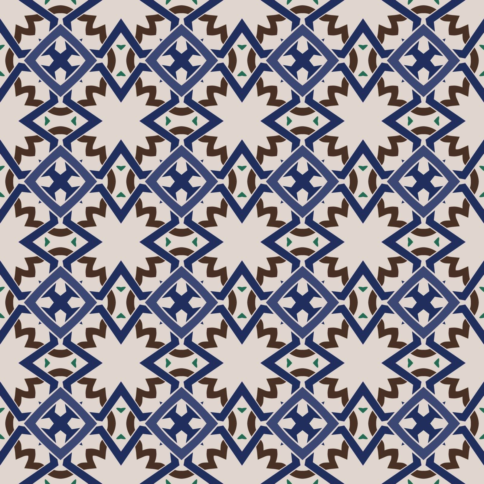 Seamless illustrated pattern made of abstract elements in beige,green, blue and brown