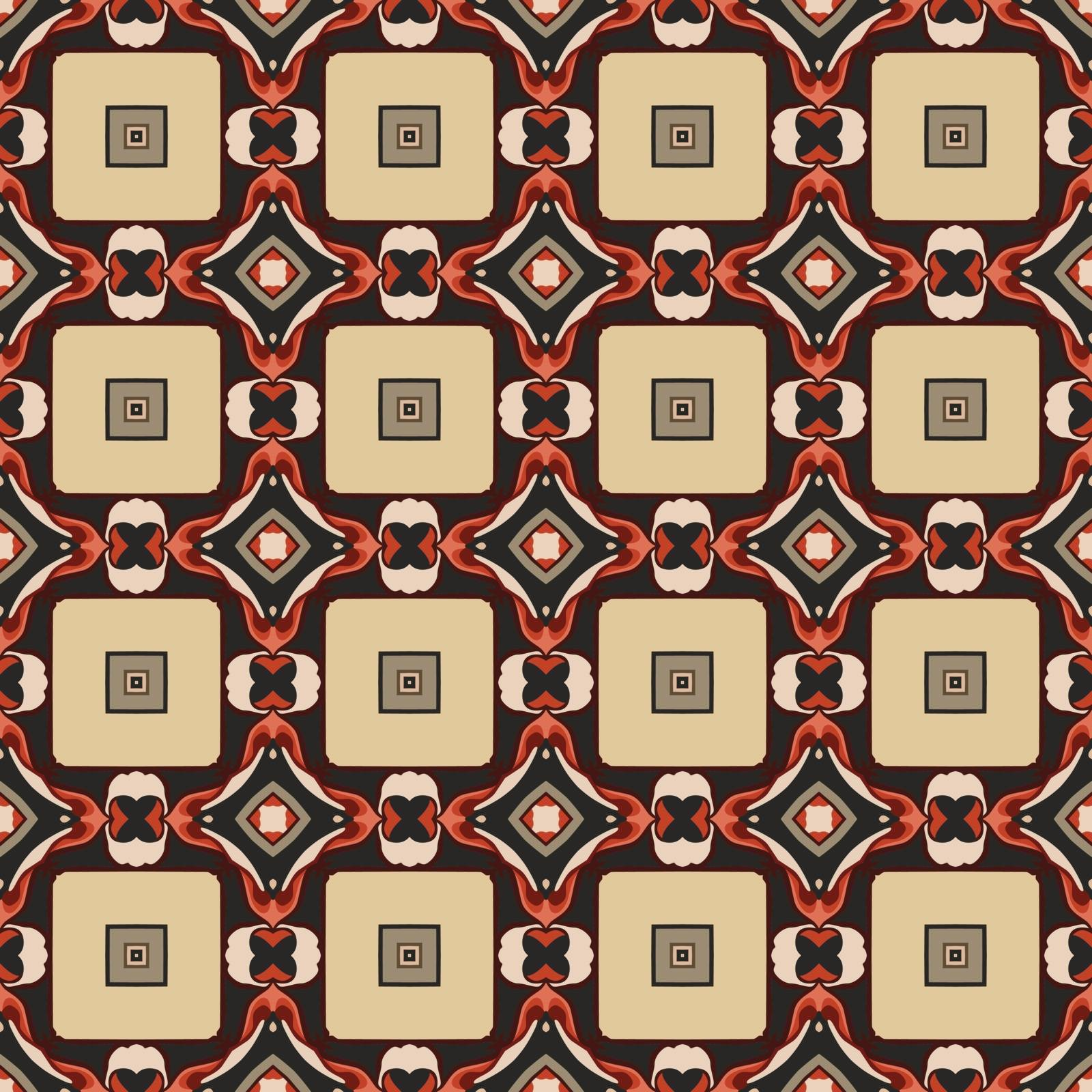 Seamless illustrated pattern made of abstract elements in beige, yellow, red, gray and black