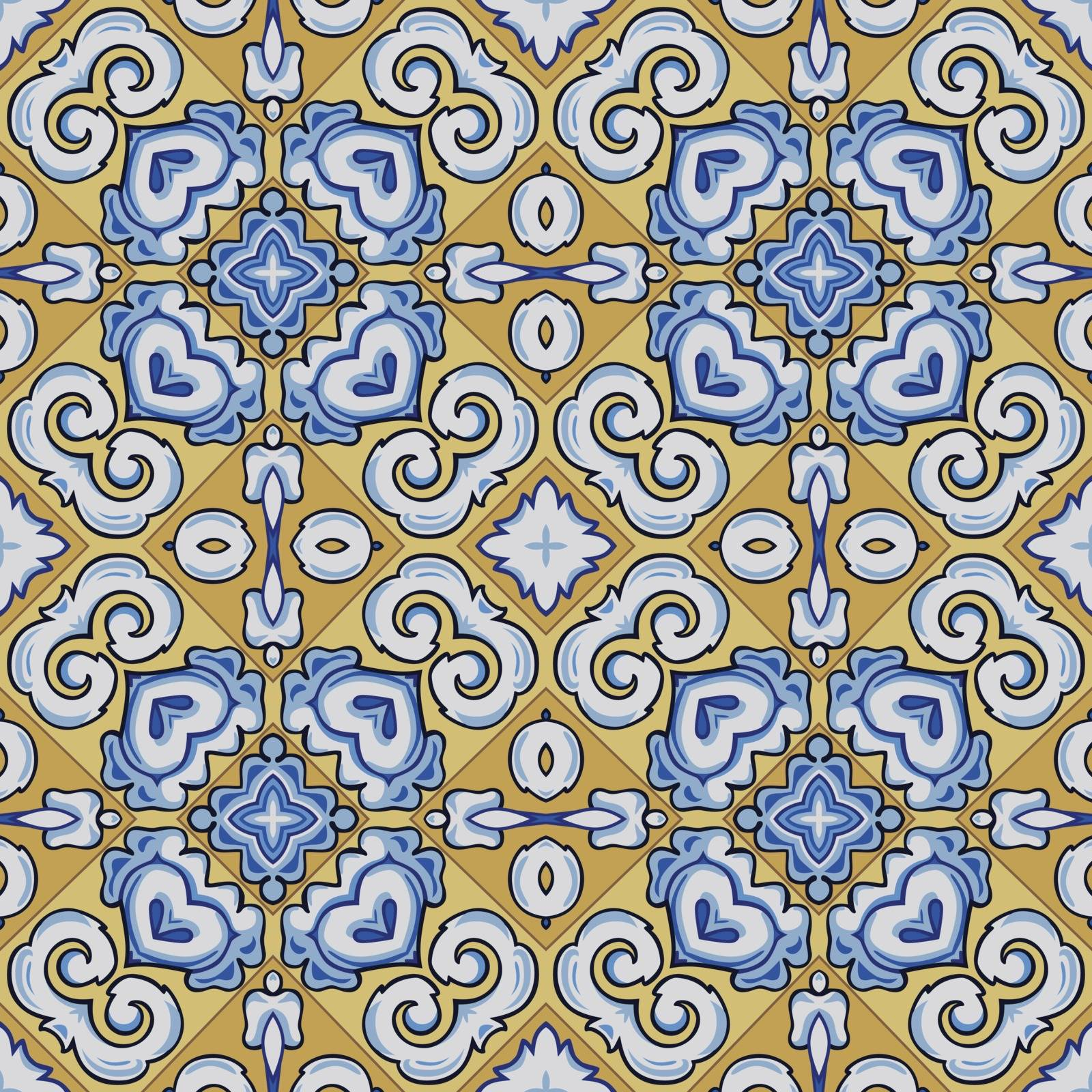 Seamless illustrated pattern made of abstract elements in white, yellow, brown, black and blue