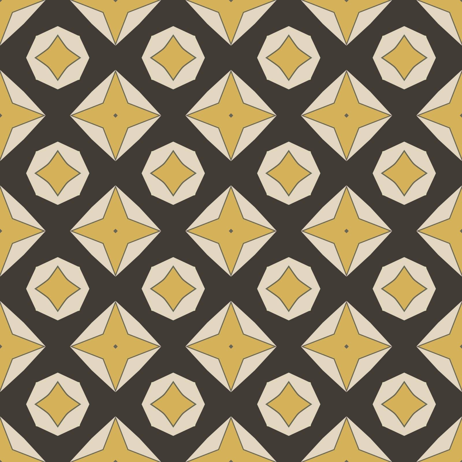 Seamless illustrated pattern made of abstract elements in beige, yellow, gray and black