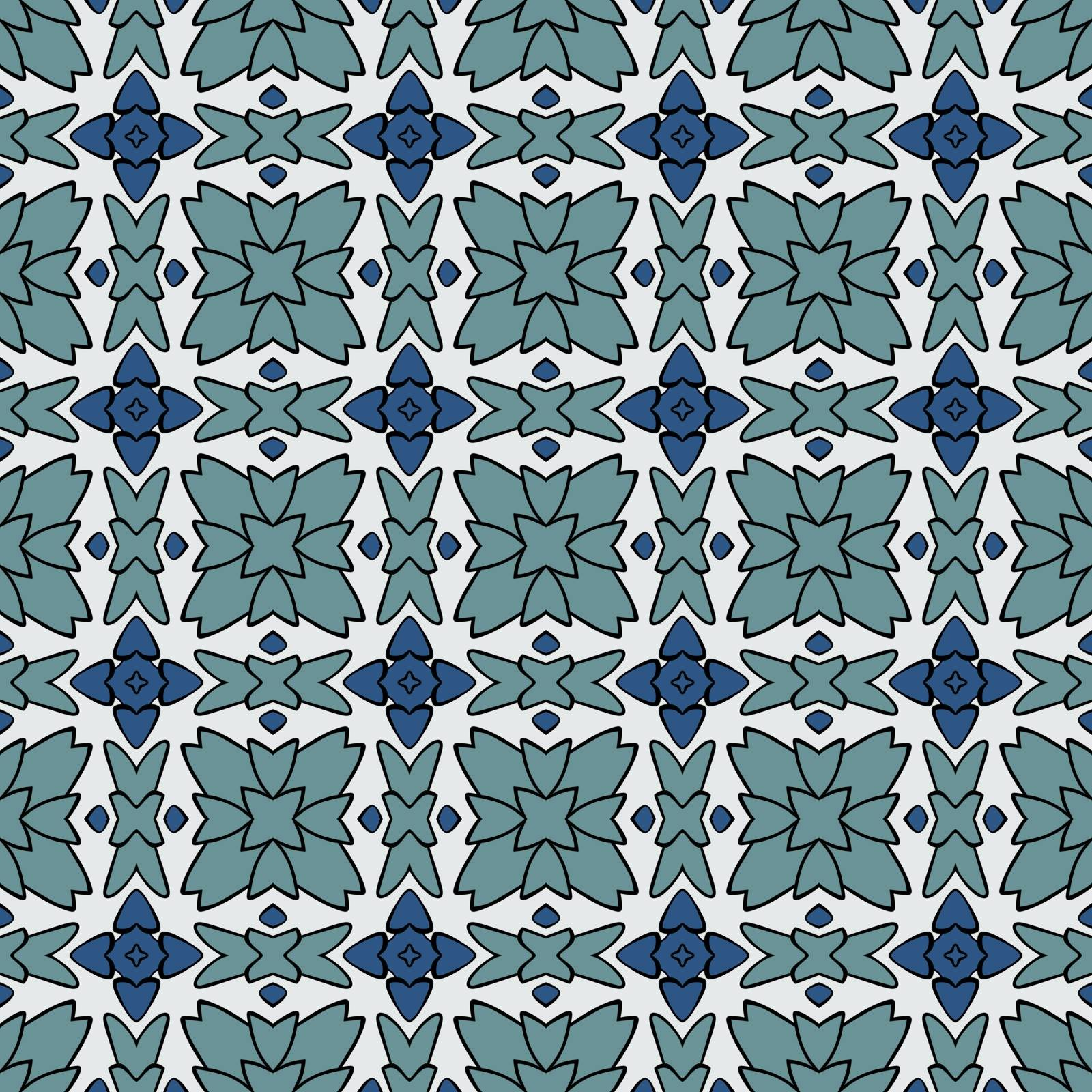 Seamless illustrated pattern made of abstract elements in white, turquoise, blue and black