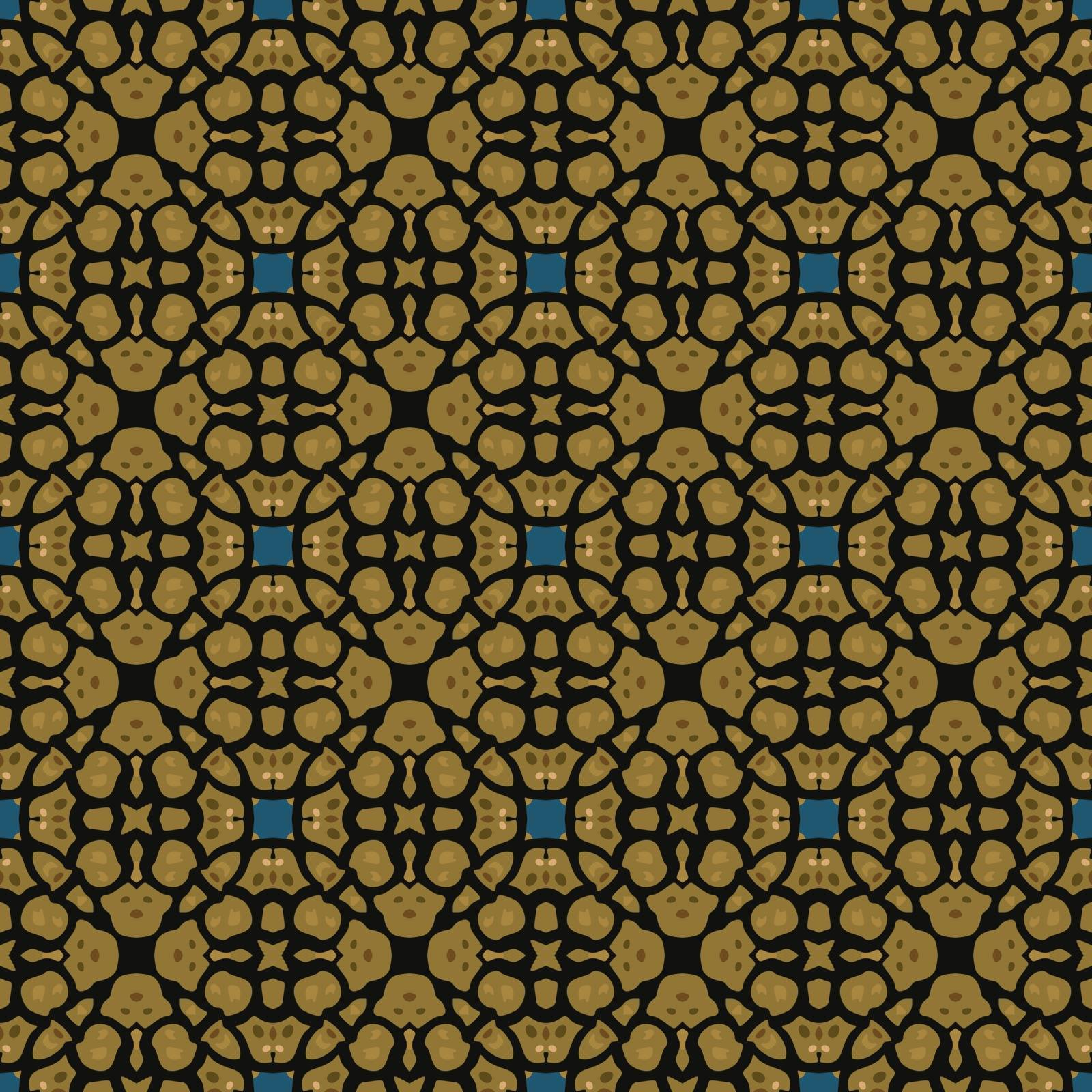 Seamless illustrated pattern made of abstract elements in blue, shades of brown and black
