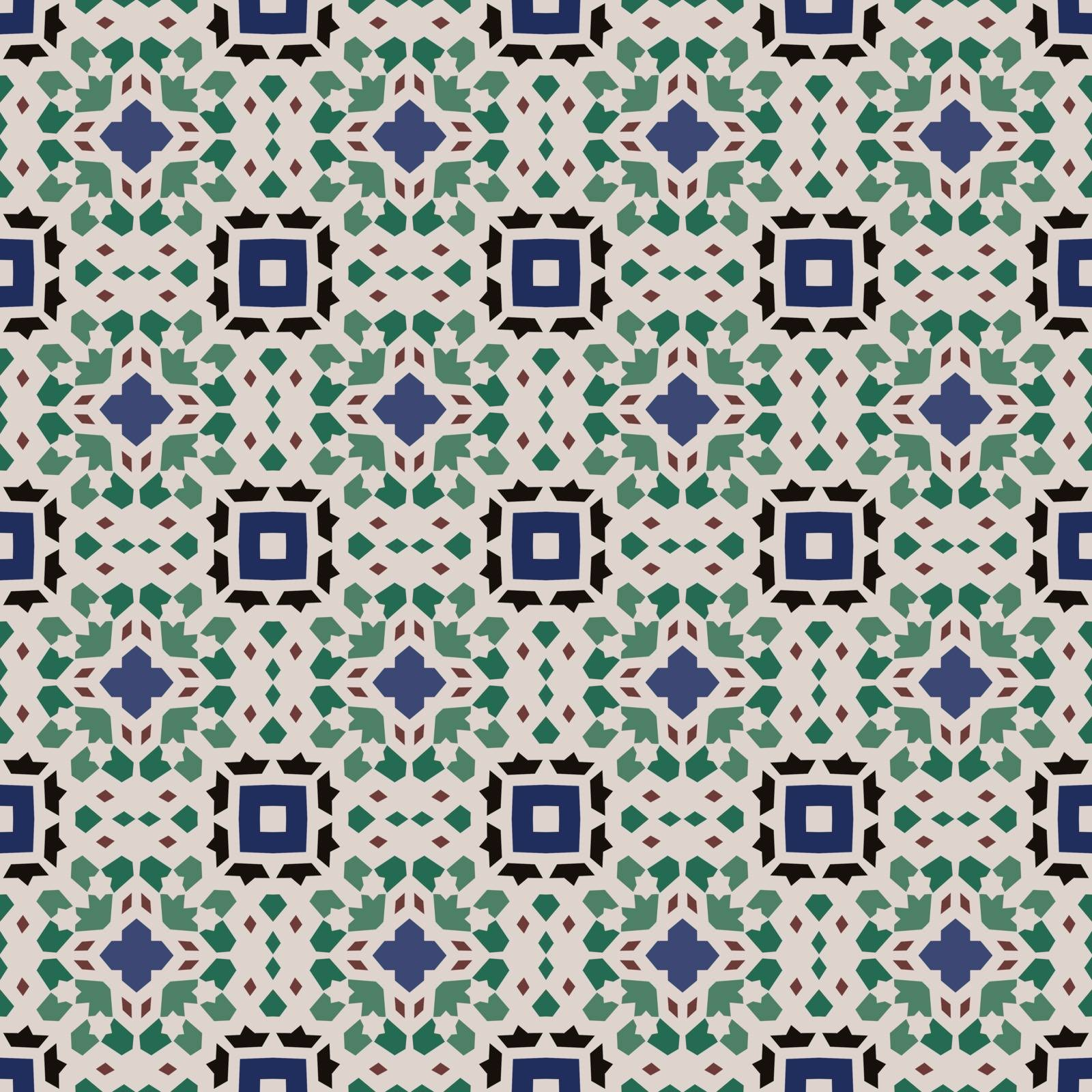 Seamless illustrated pattern made of abstract elements in beige, blue, green,black and brown