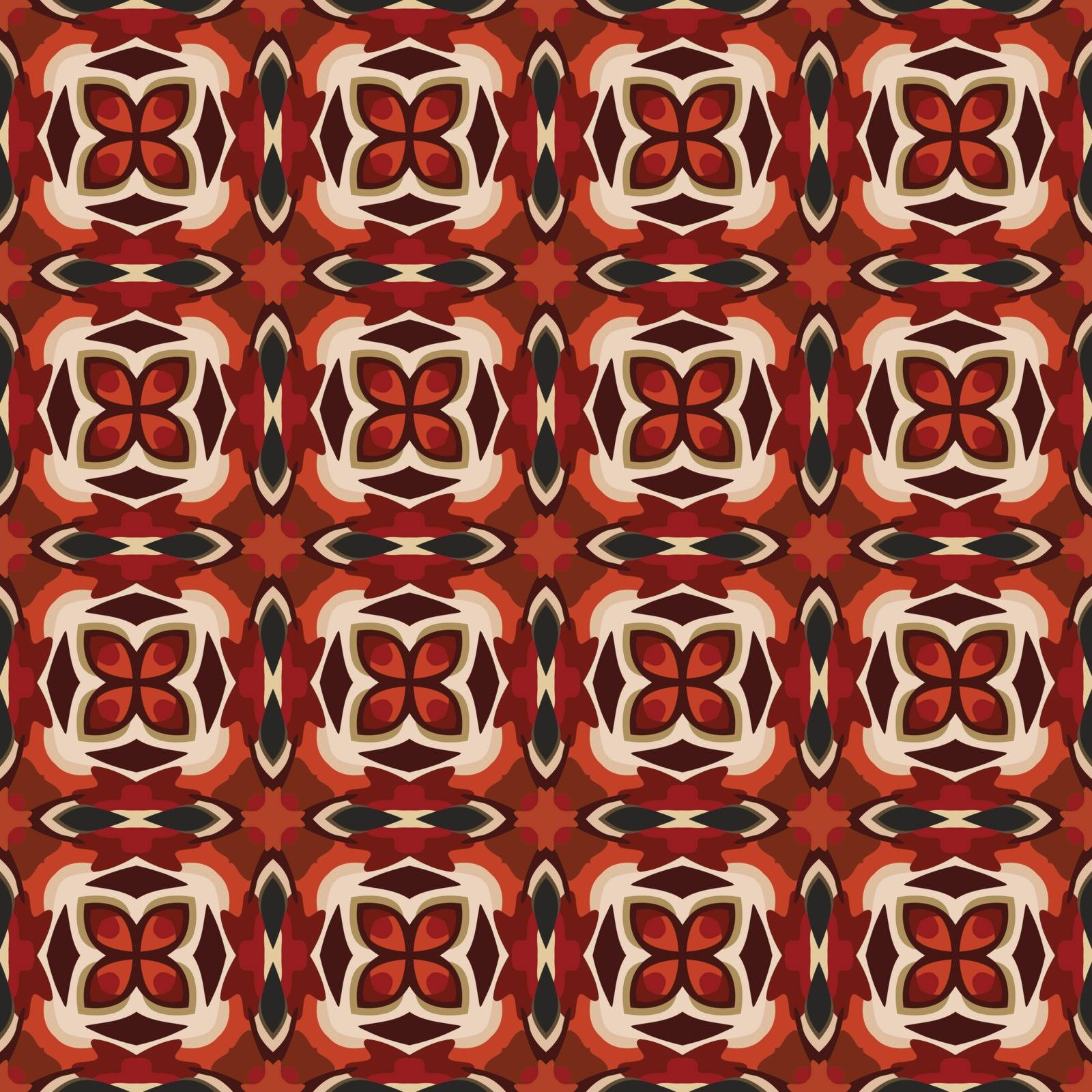 Seamless illustrated pattern made of abstract elements in beige,brown, red and black