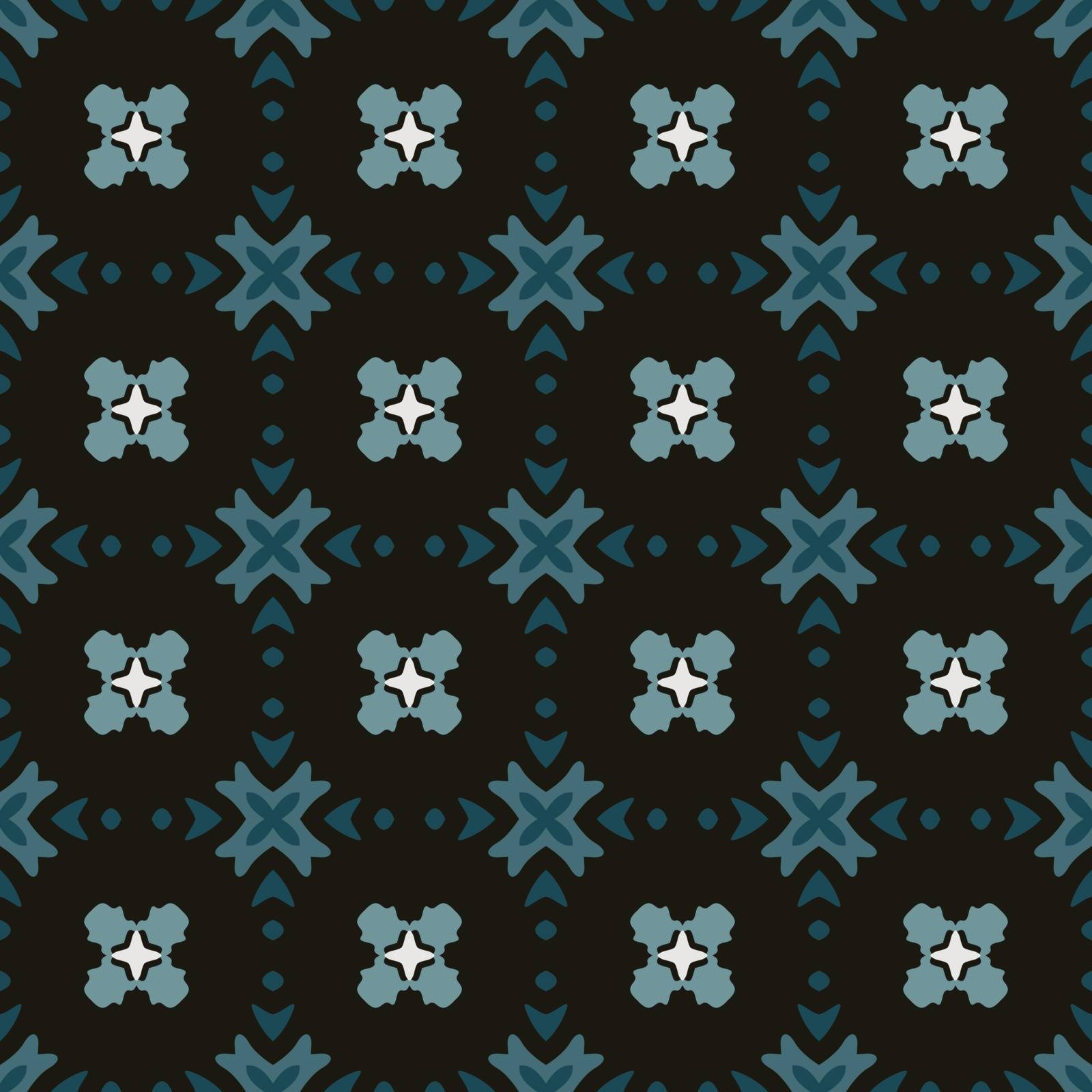 Seamless illustrated pattern made of abstract elements in white, black and shades of blue