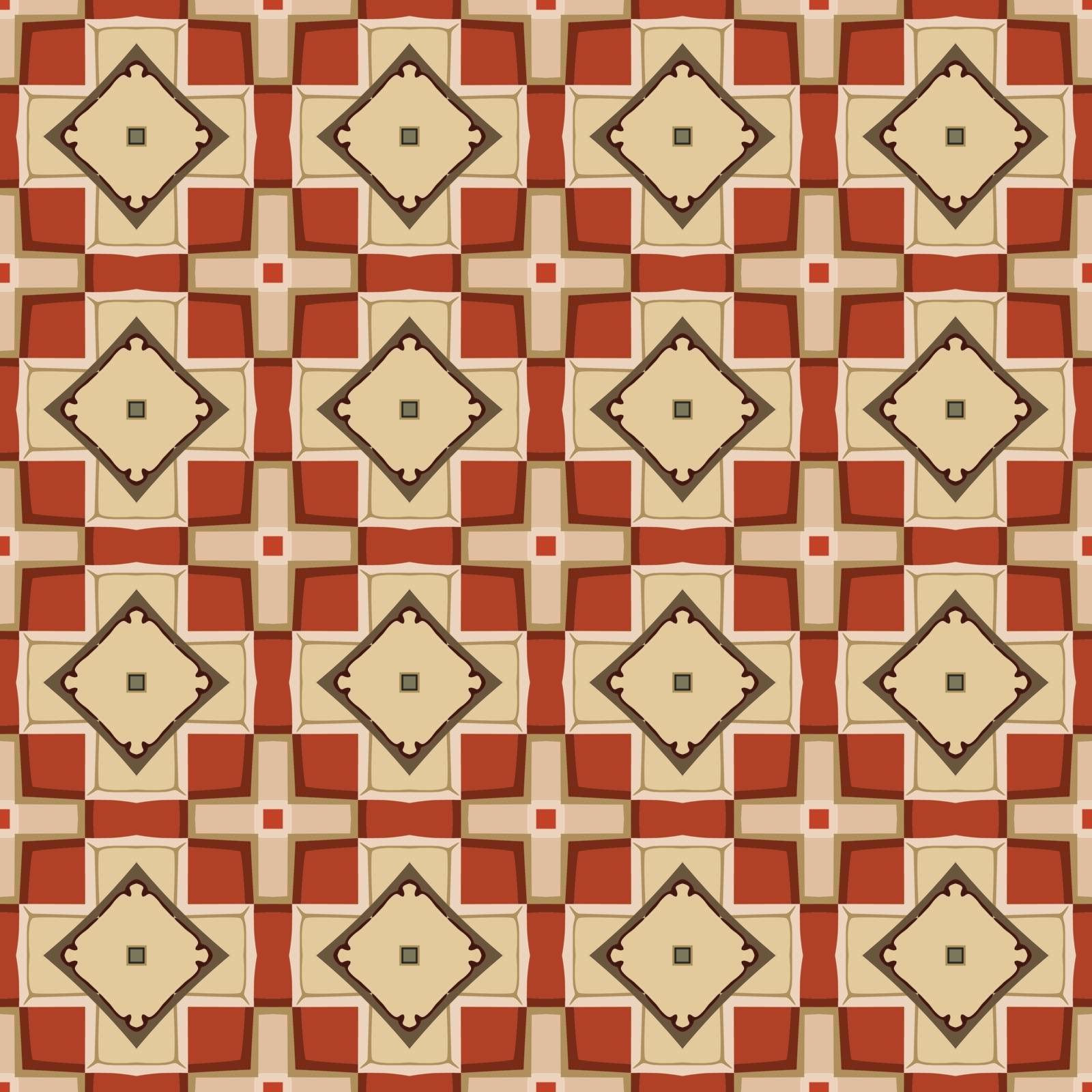 Seamless illustrated pattern made of abstract elements in beige, pale yellow, red and brown