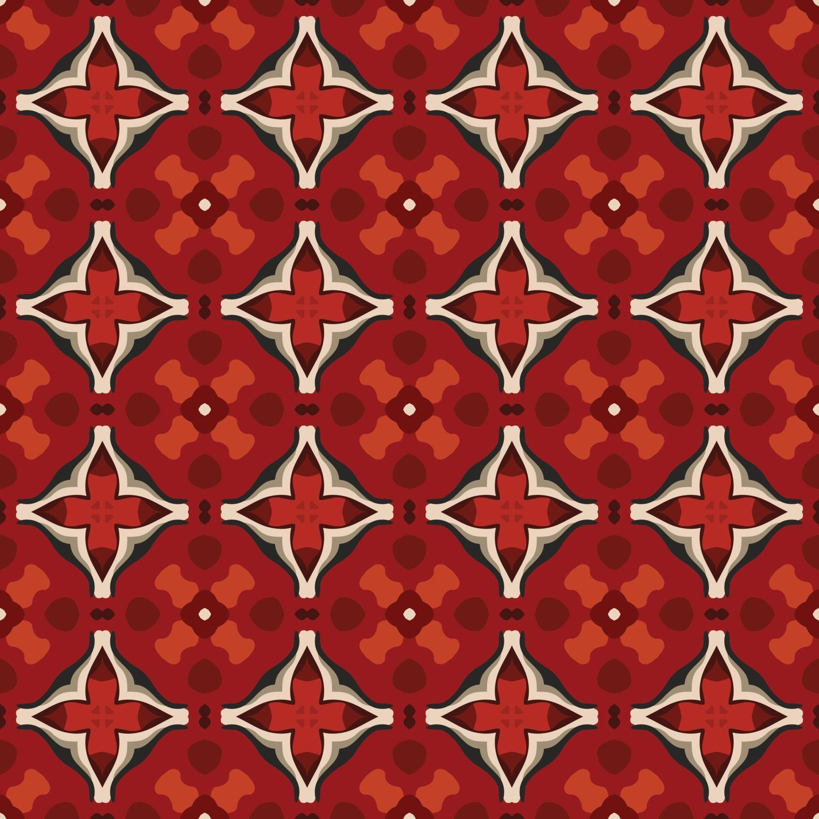 Seamless illustrated pattern made of abstract elements in beige, gray, red and black
