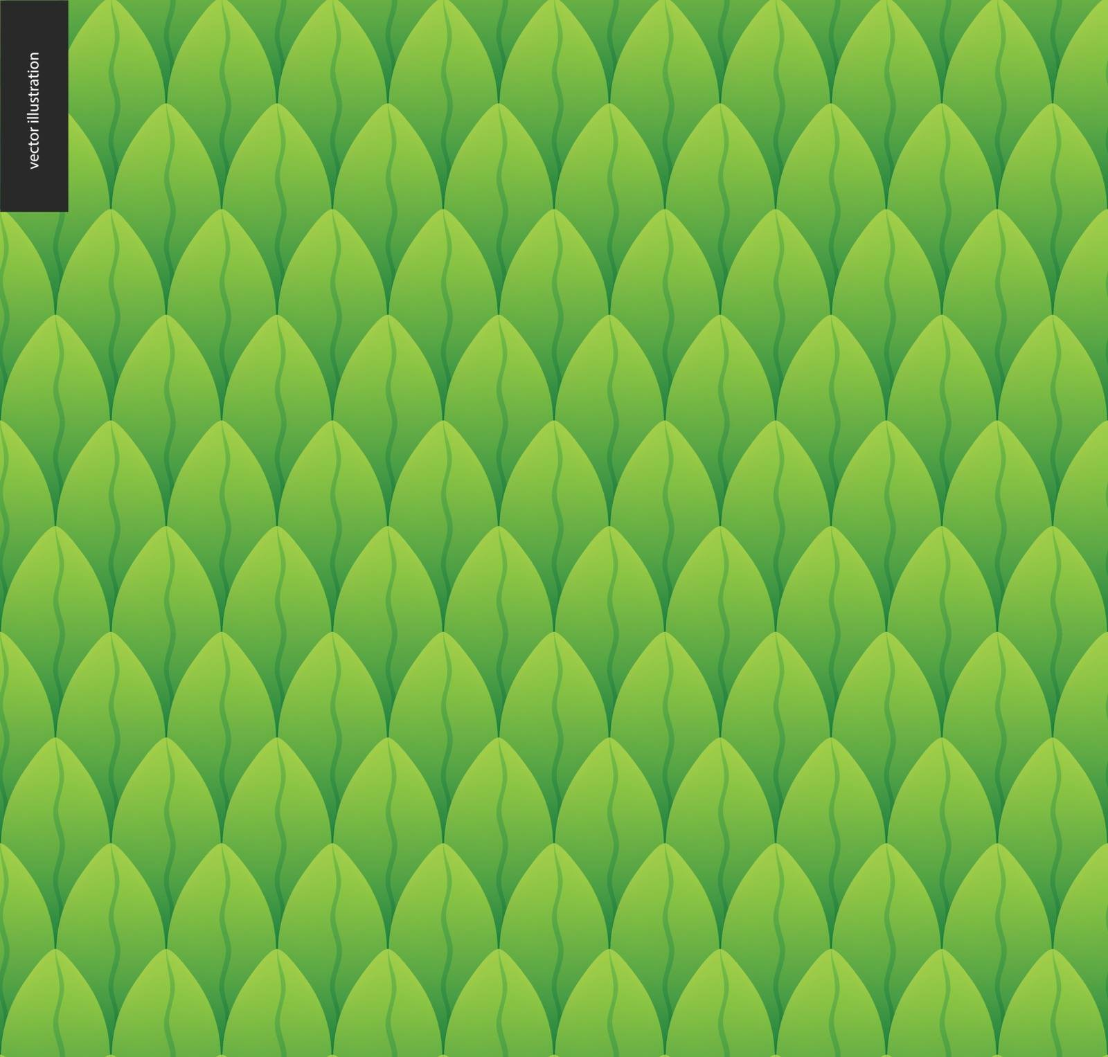 Foliage seamless pattern. Green leaf seamless vector catroon hand drawn pattern