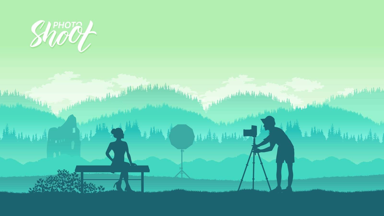 A photographer with equipment  by Linetale