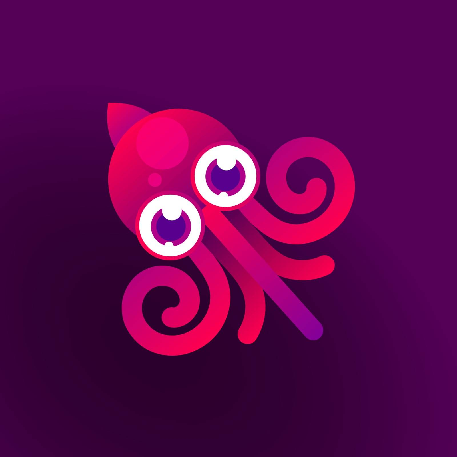Octopus vector illustration of marine life , logo for your design.