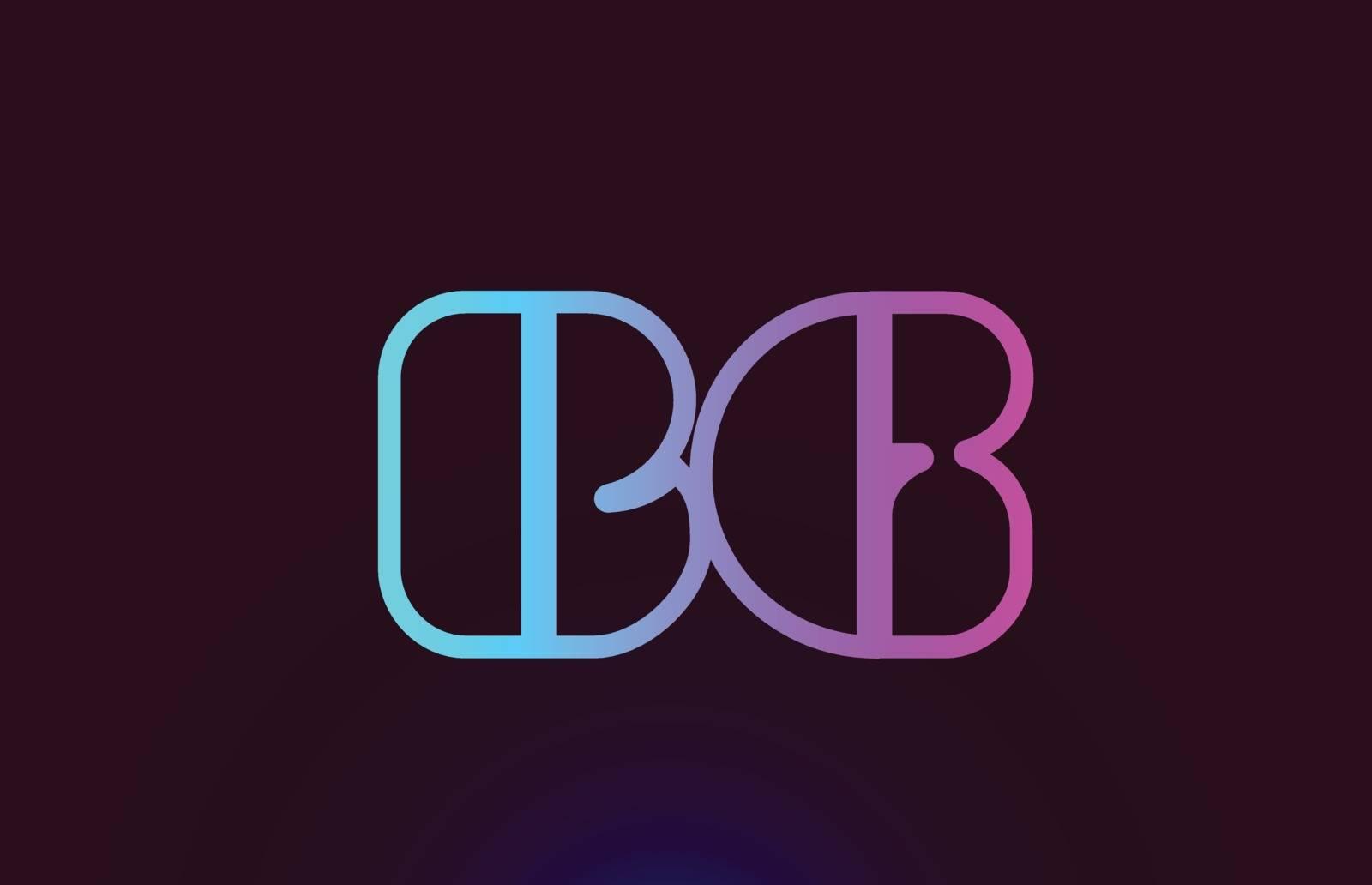 BG B G pink line alphabet letter combination logo icon design by dragomirescu