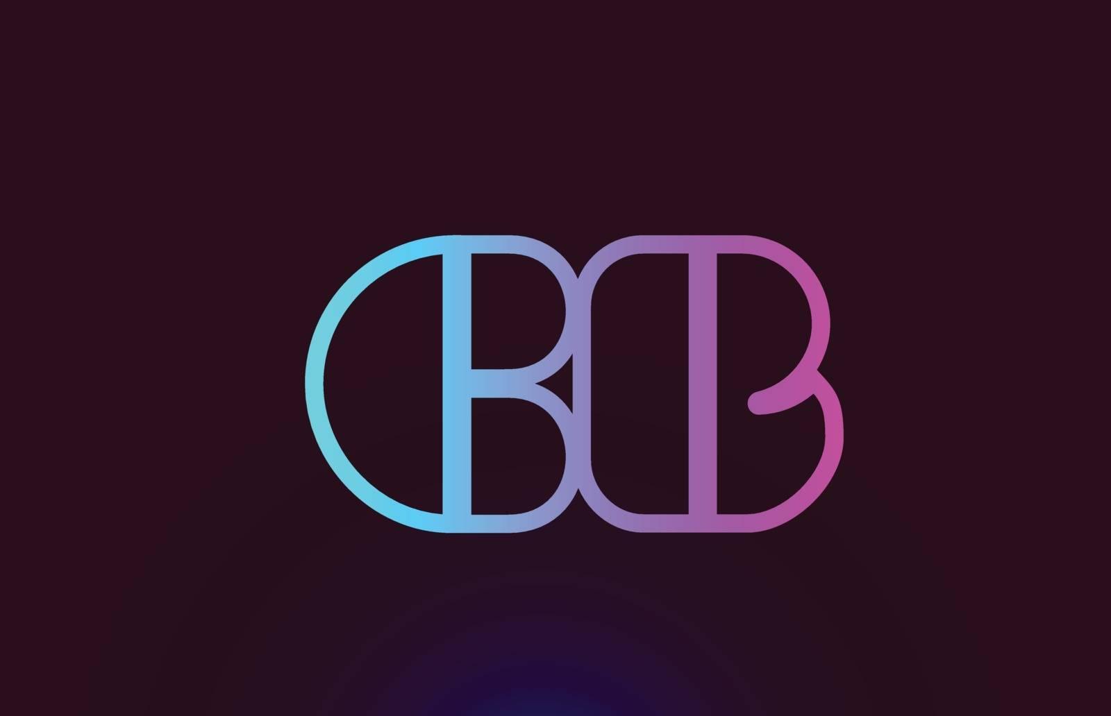CB C B pink line alphabet letter combination logo icon design by dragomirescu