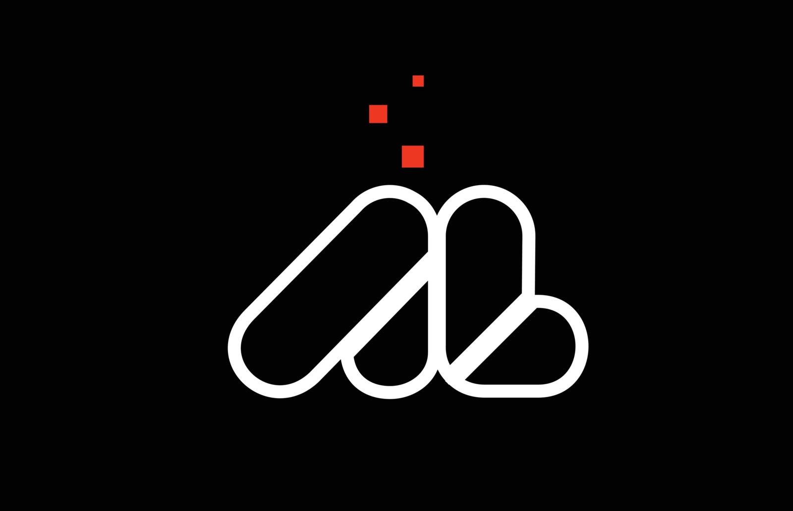 AL A L black white red alphabet letter combination logo icon des by dragomirescu