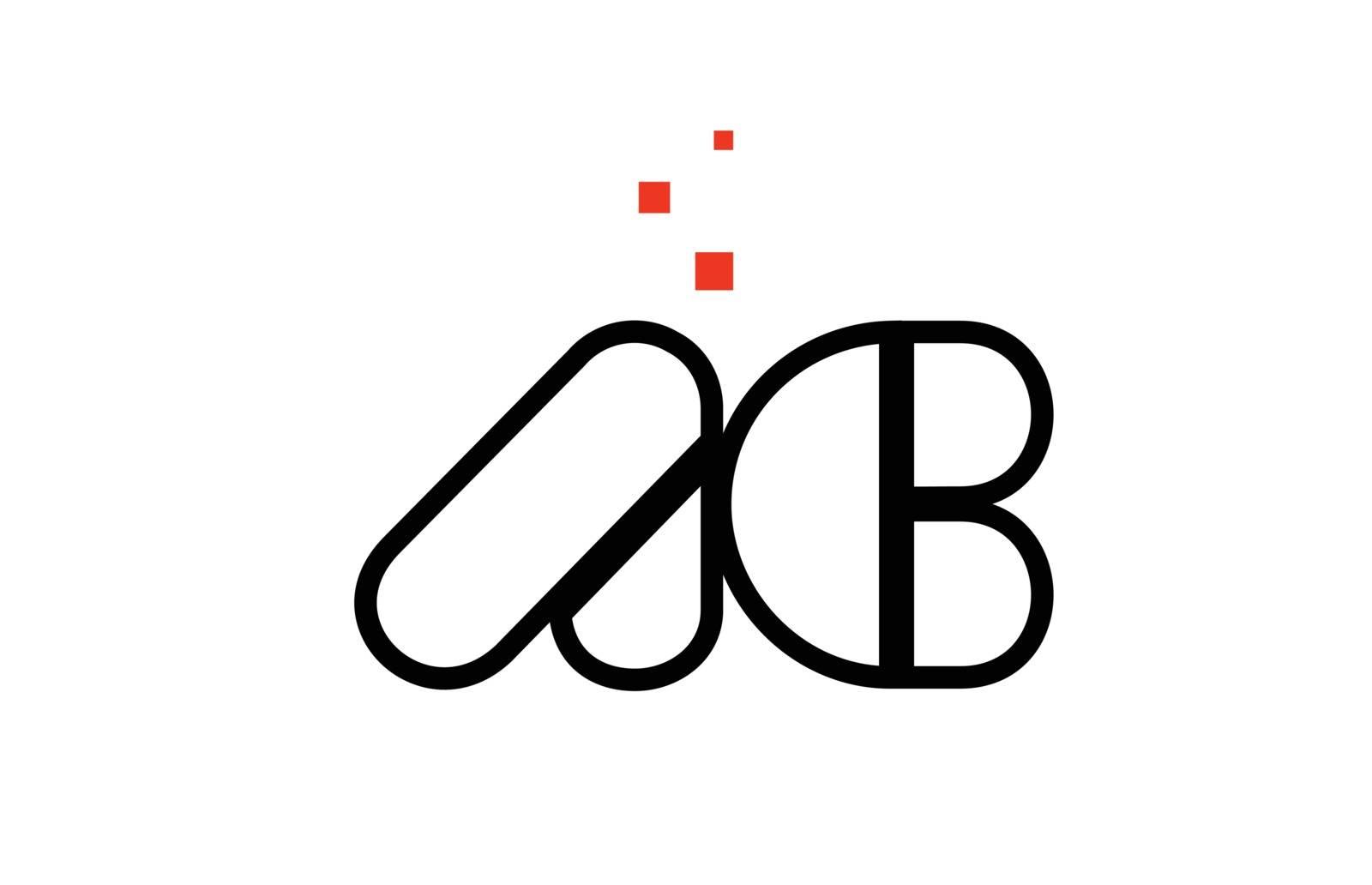 AC A C black white red alphabet letter combination logo icon des by dragomirescu