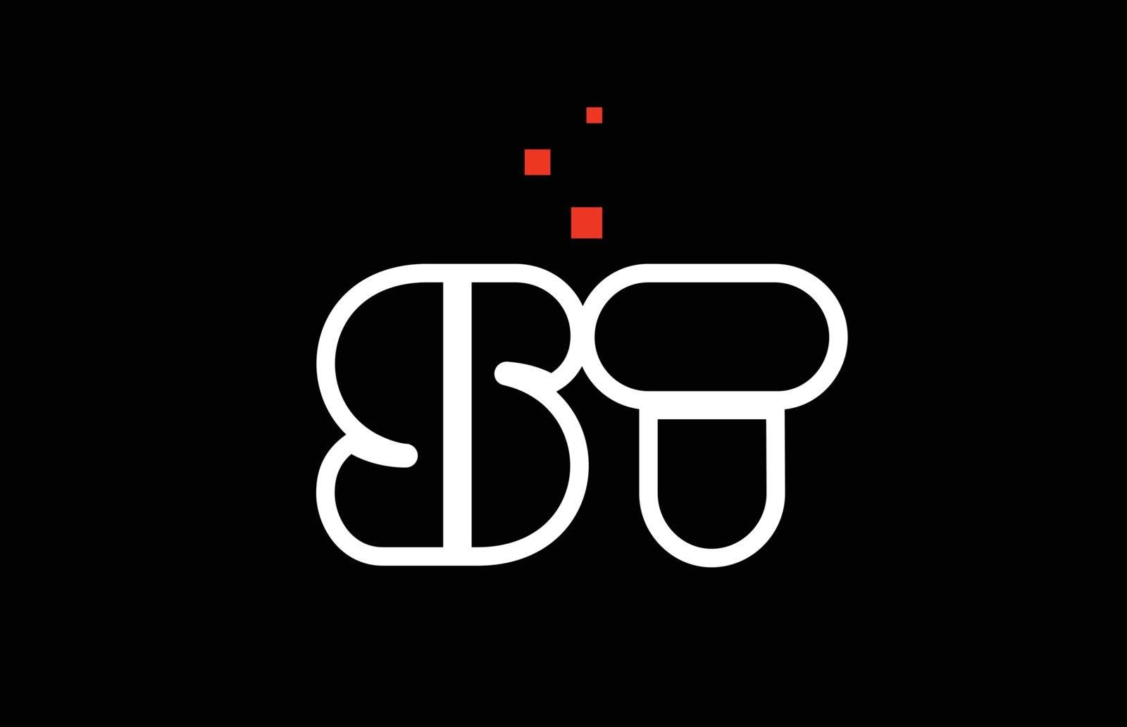 ST S T black white red alphabet letter combination logo icon des by dragomirescu