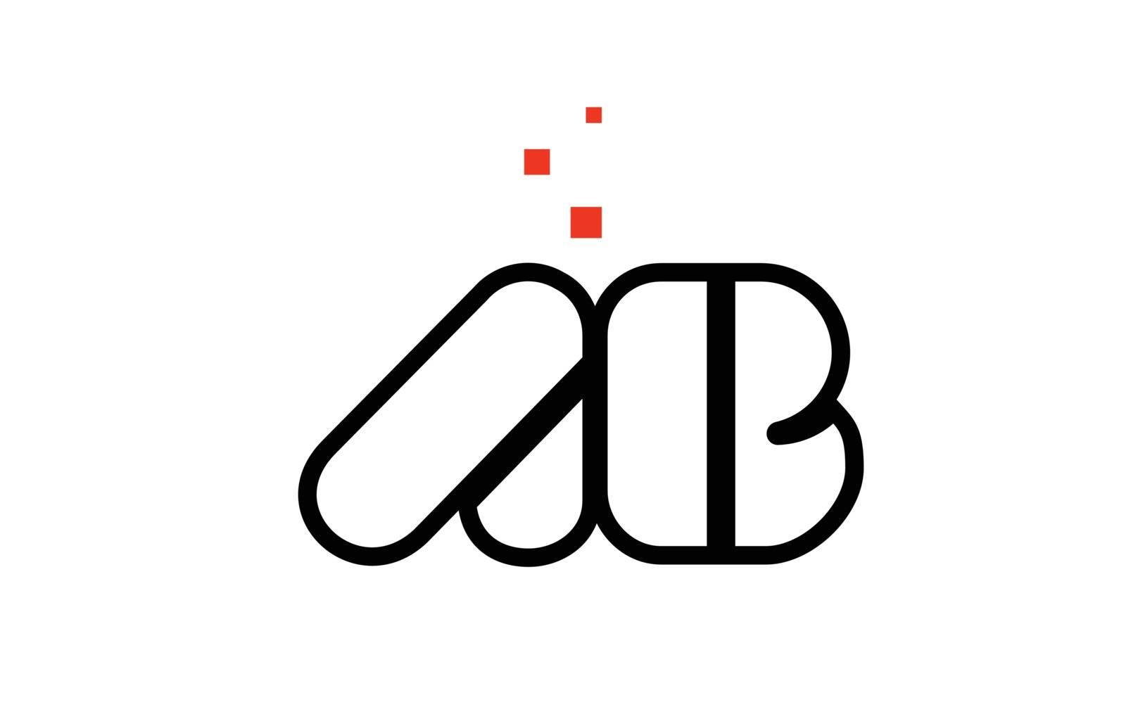 AB A B black white red alphabet letter combination logo icon des by dragomirescu
