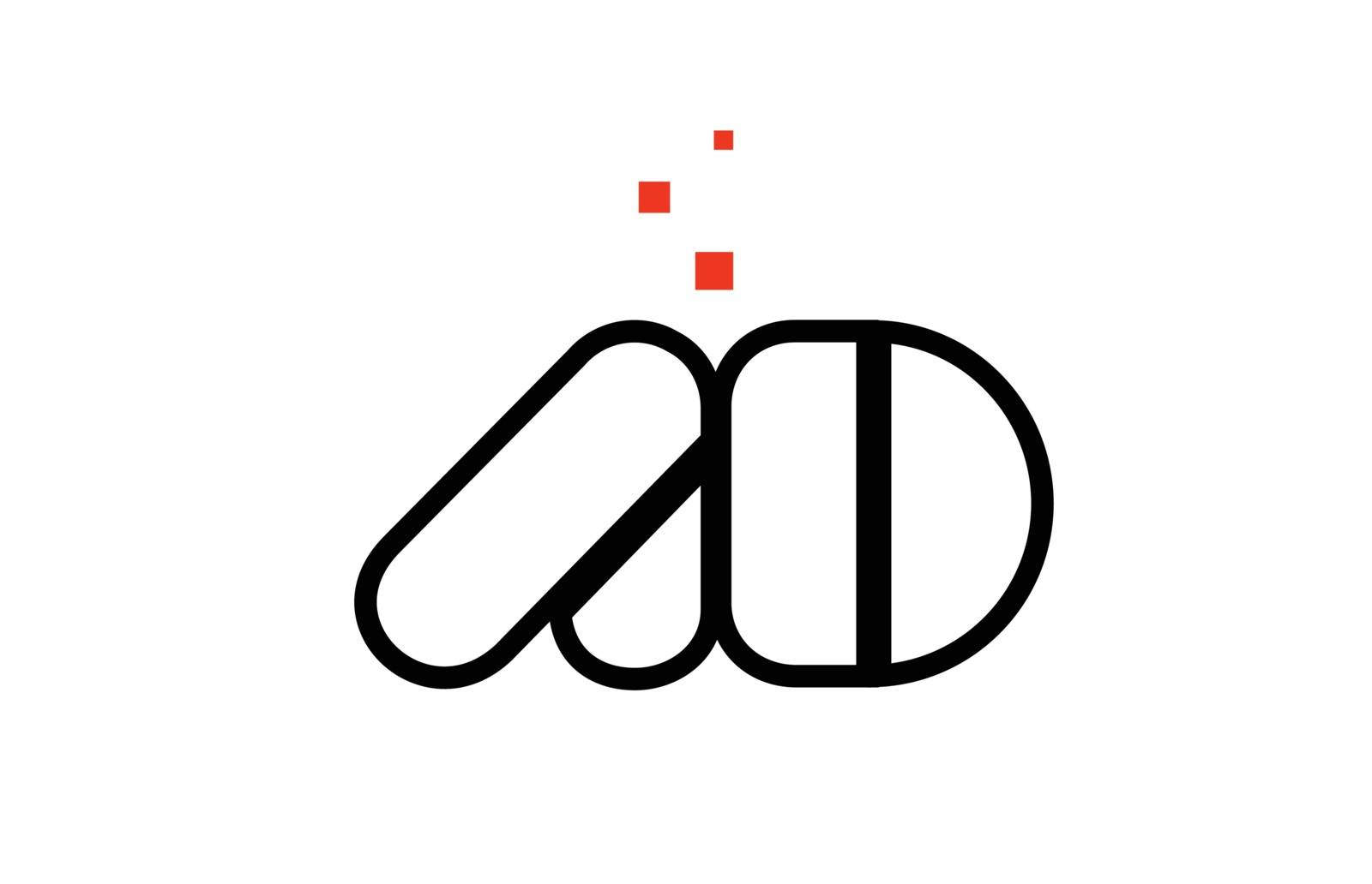 AD A D black white red alphabet letter combination logo icon des by dragomirescu