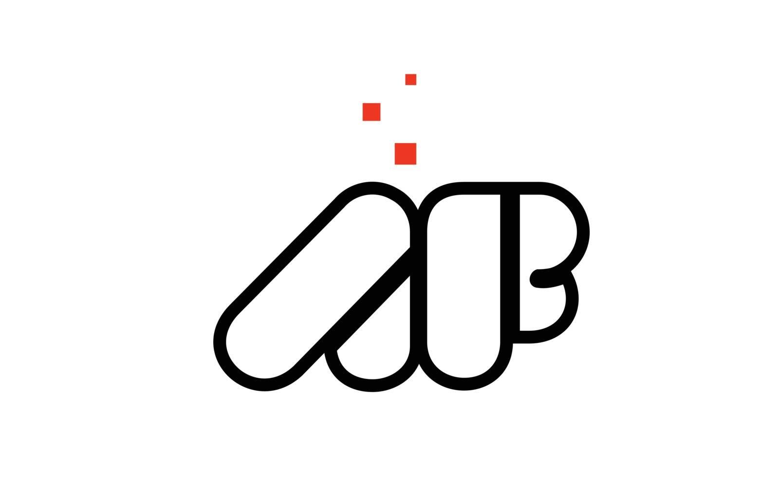 AF A F black white red alphabet letter combination logo icon des by dragomirescu