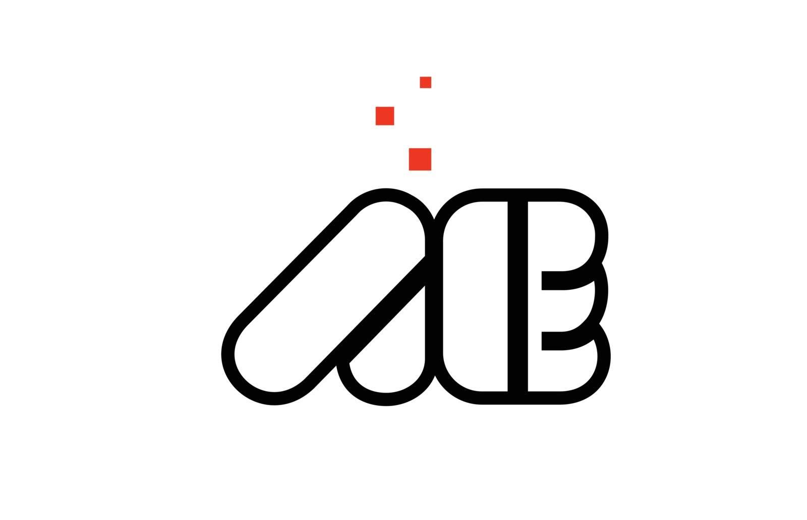 AE A E black white red alphabet letter combination logo icon des by dragomirescu