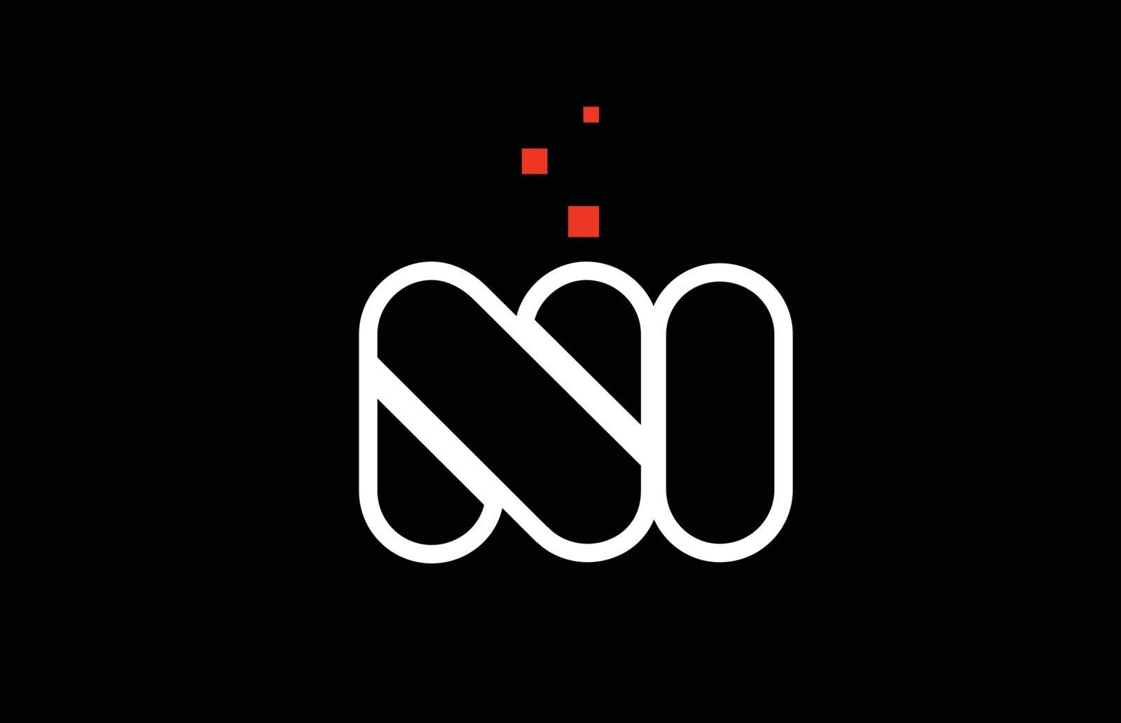 NI N I black white red alphabet letter combination logo icon des by dragomirescu