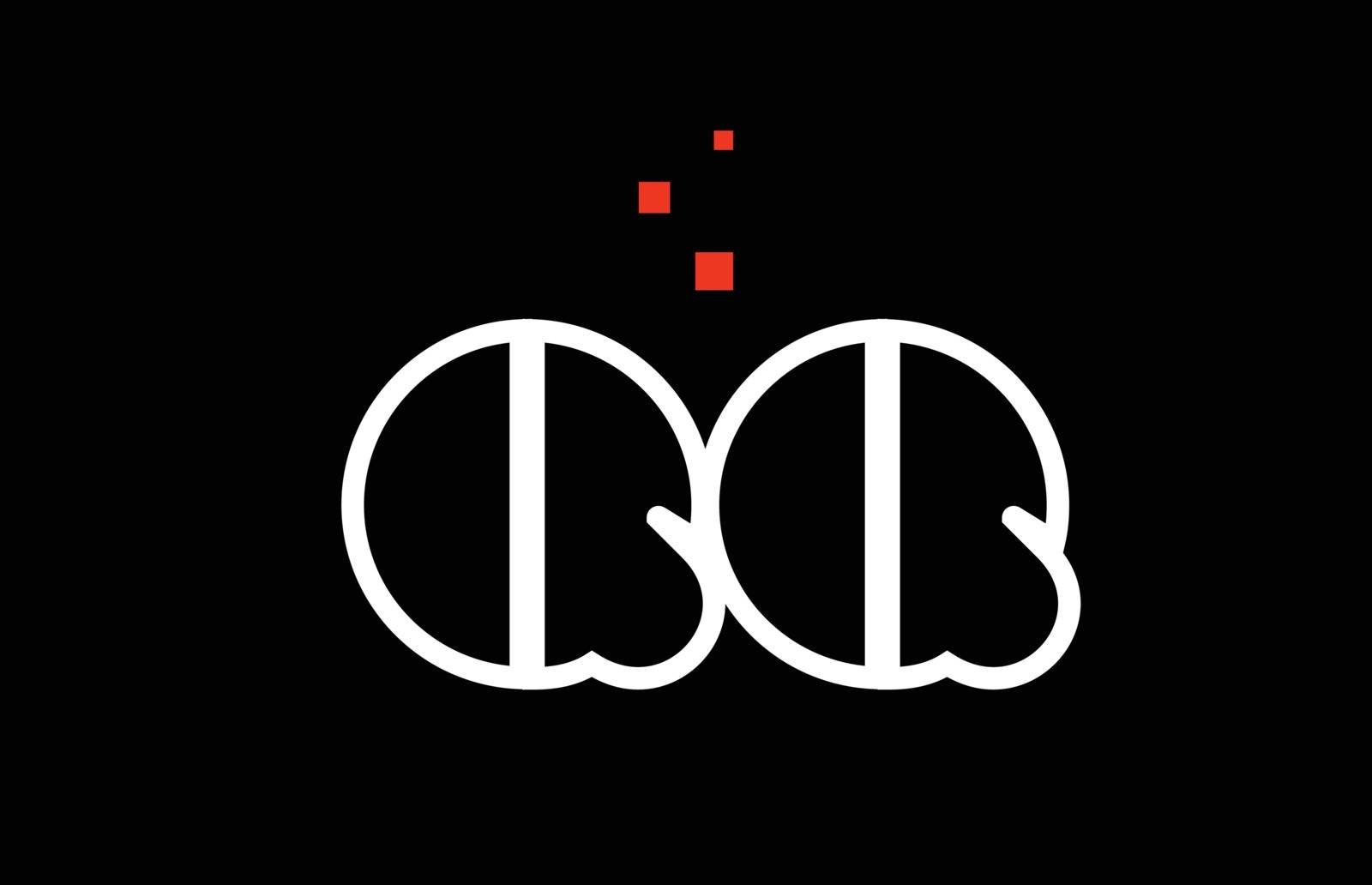 QQ Q Q black white red alphabet letter combination logo icon des by dragomirescu
