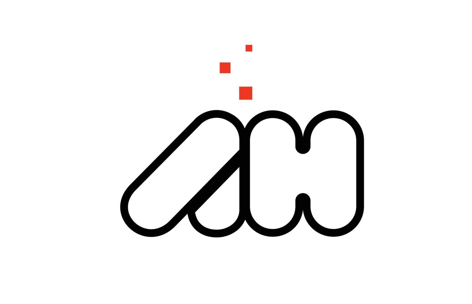 AH A H black white red alphabet letter combination logo icon des by dragomirescu