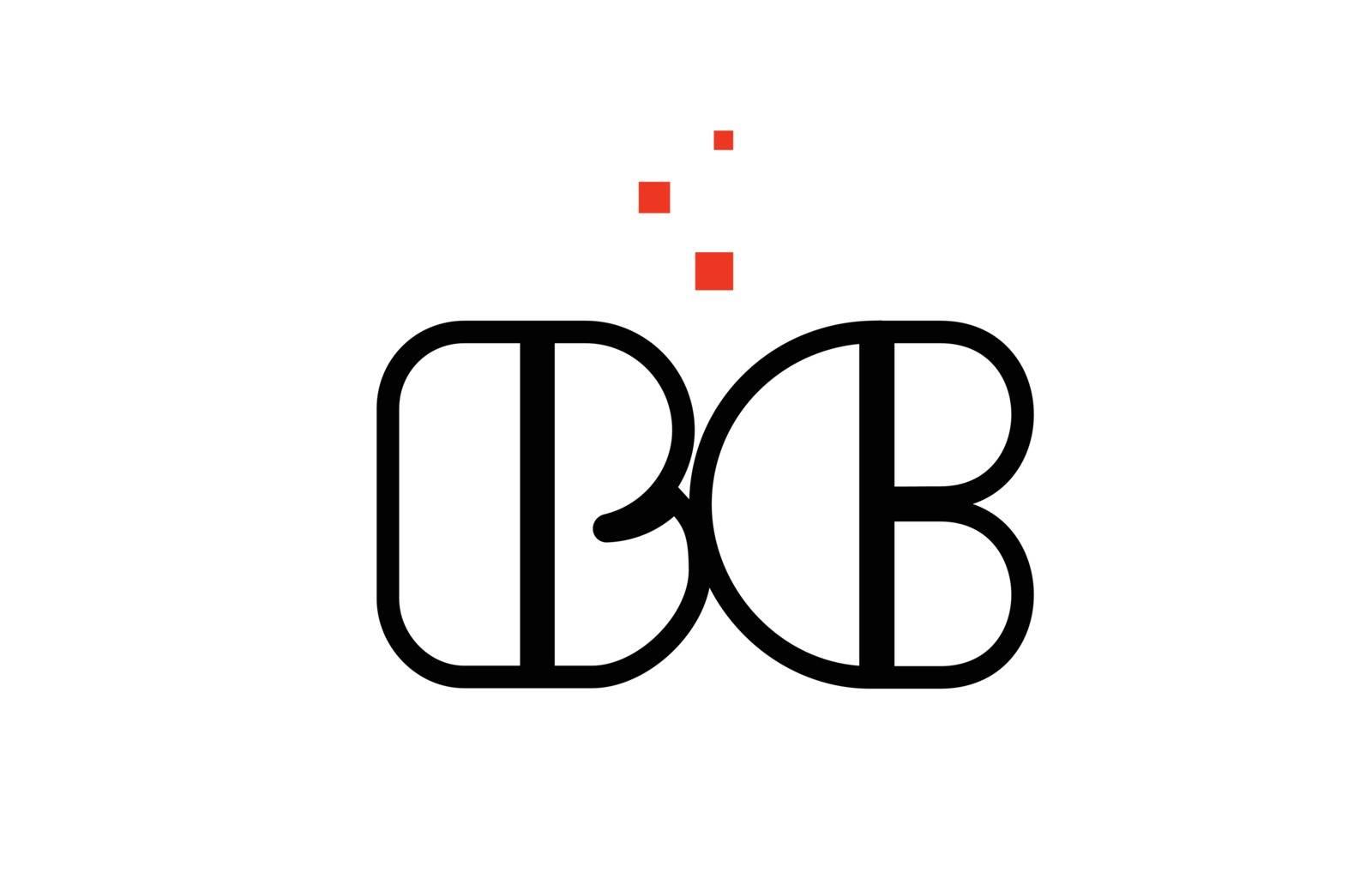 BC B C black white red alphabet letter combination logo icon des by dragomirescu