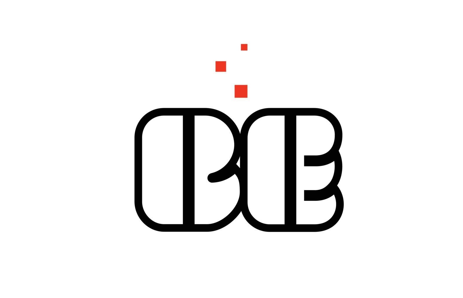 BE B E black white red alphabet letter combination logo icon des by dragomirescu