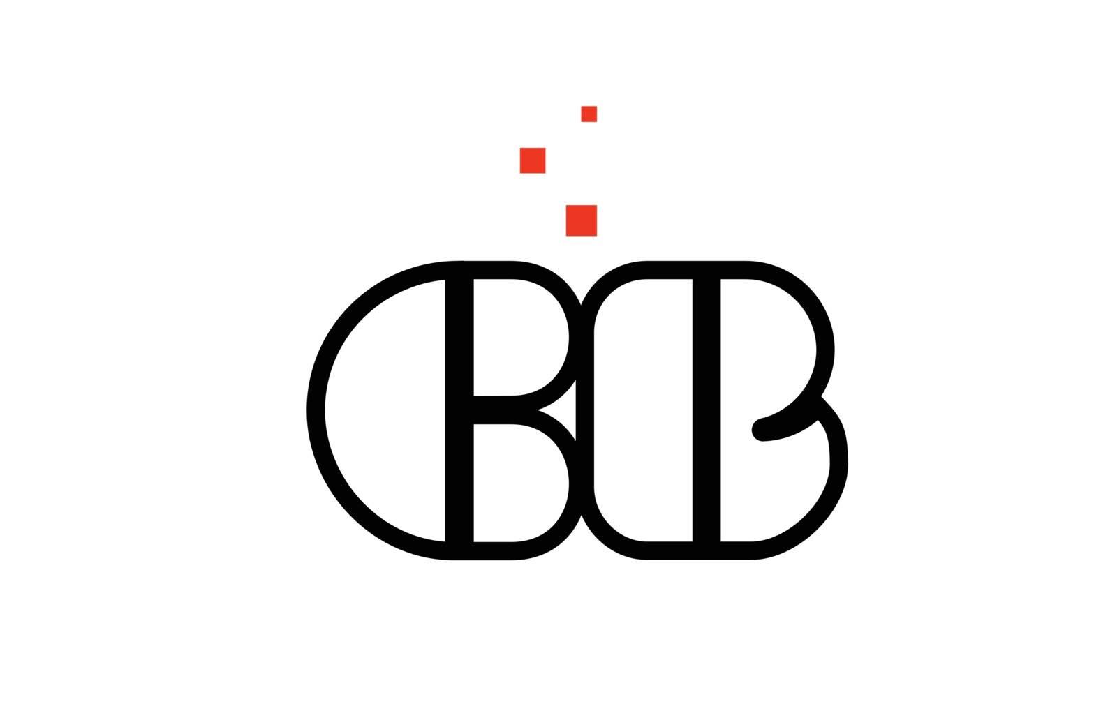 CB C B black white red alphabet letter combination logo icon des by dragomirescu