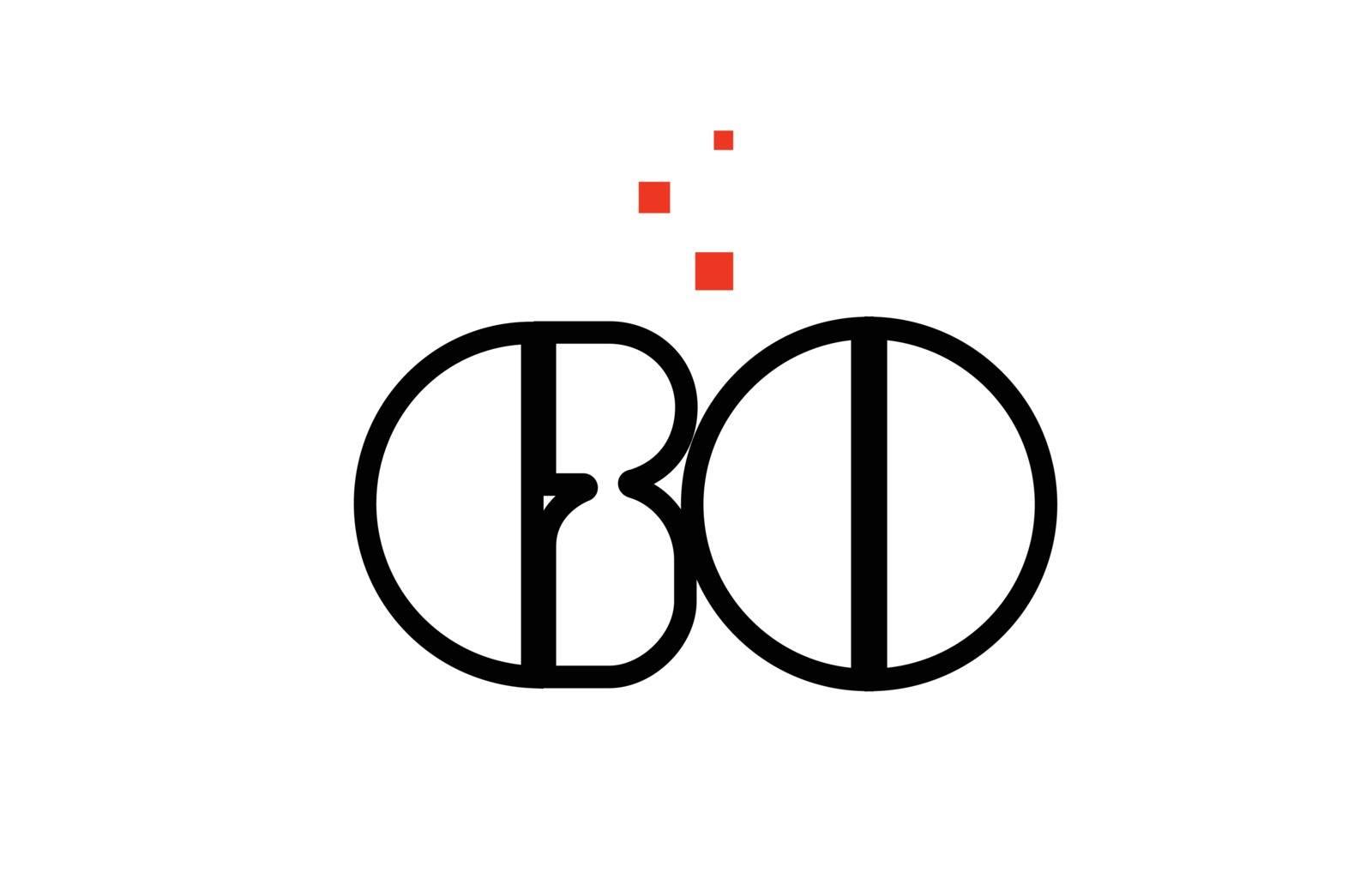 GO G O black white red alphabet letter combination logo icon des by dragomirescu