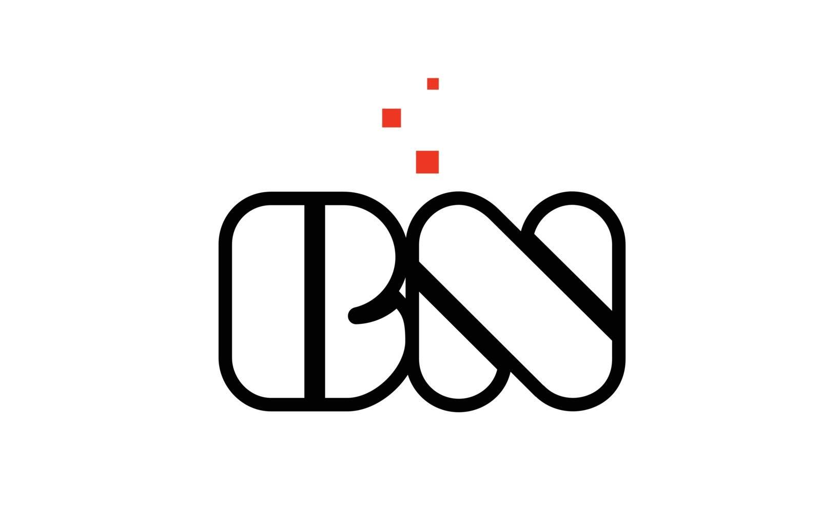 BN B N black white red alphabet letter combination logo icon des by dragomirescu