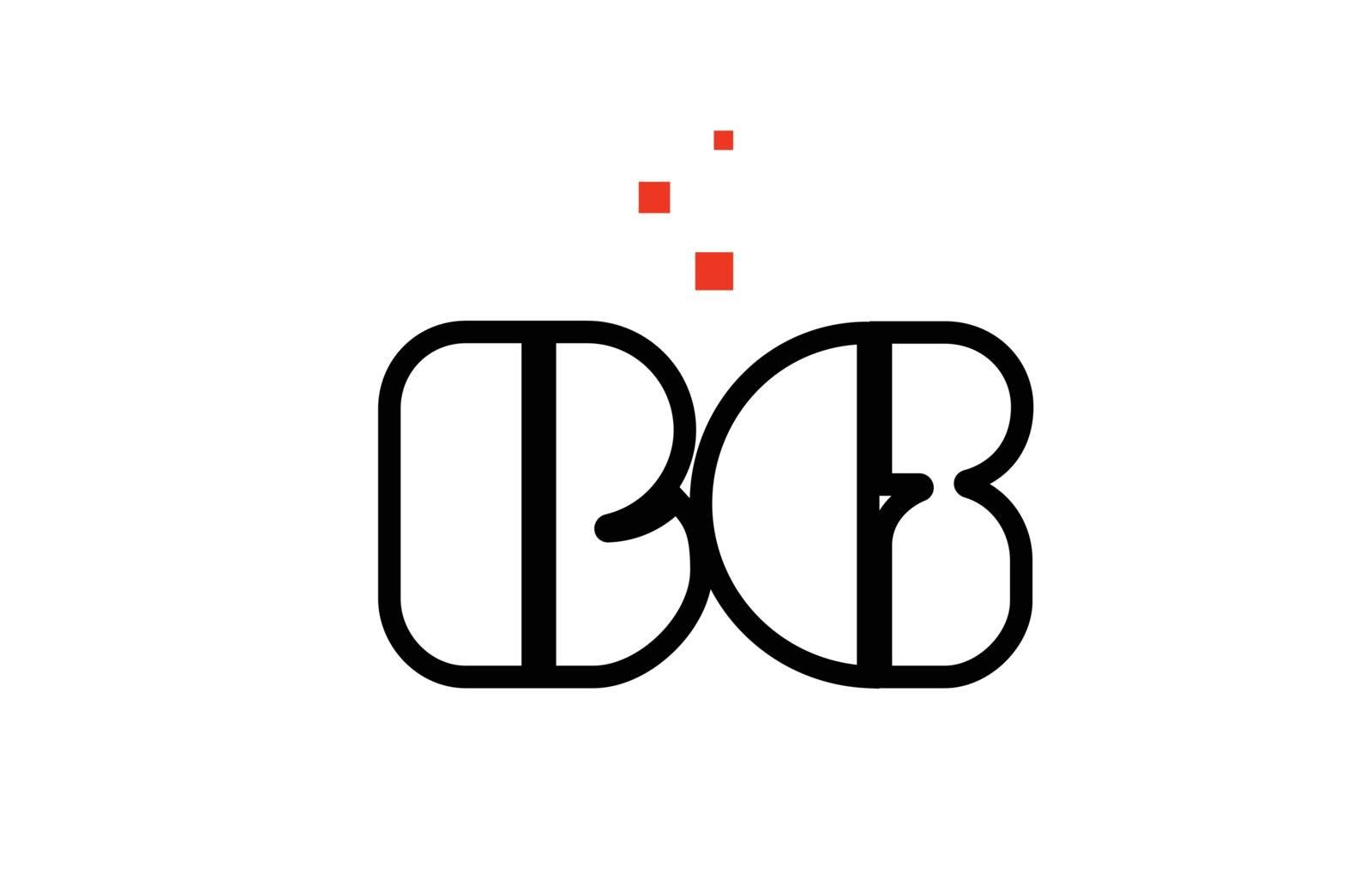 BG B G black white red alphabet letter combination logo icon des by dragomirescu