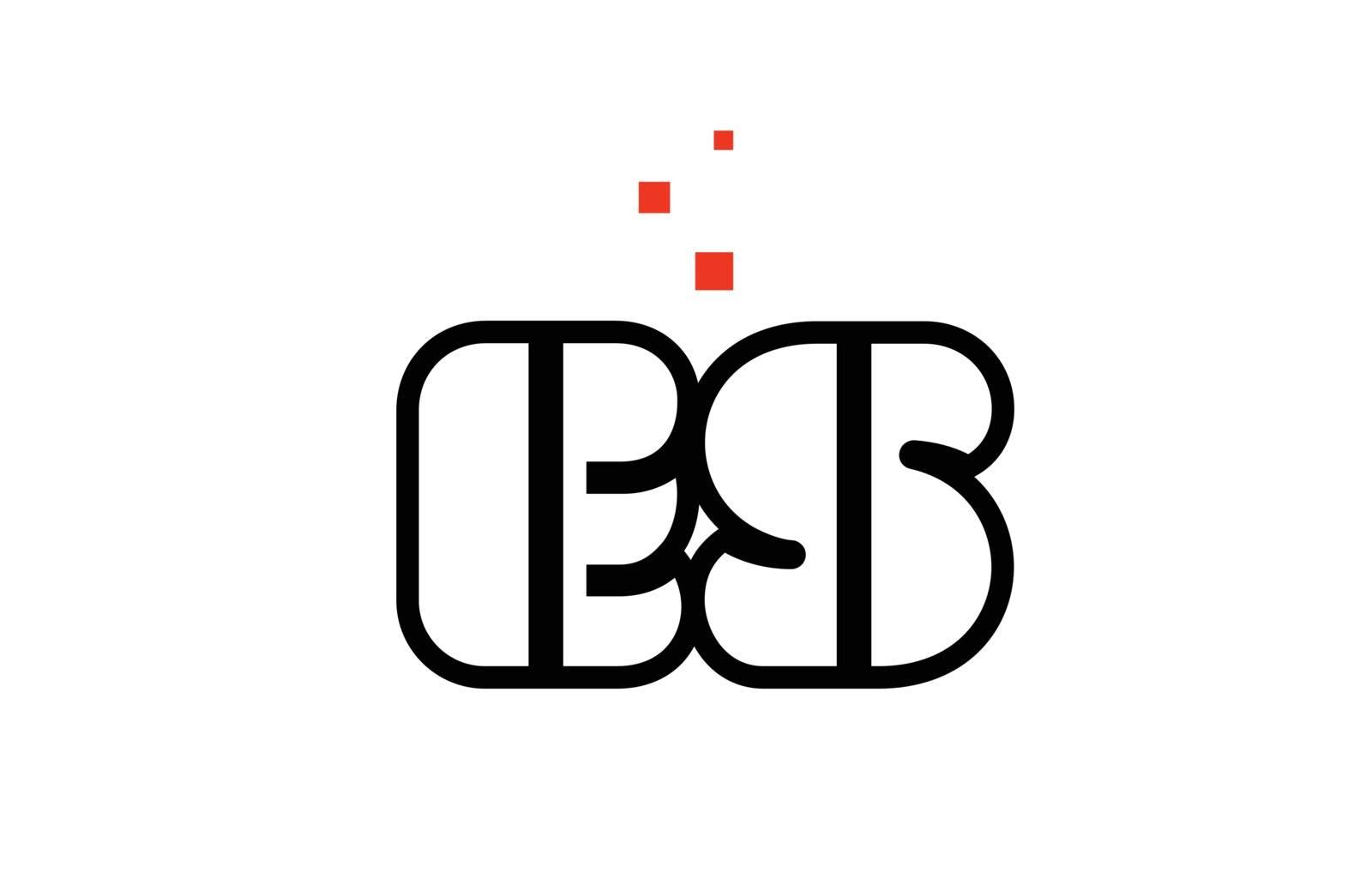 ES E S black white red alphabet letter combination logo icon des by dragomirescu