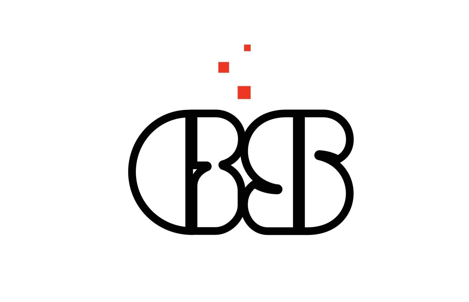 GS G S black white red alphabet letter combination logo icon des by dragomirescu