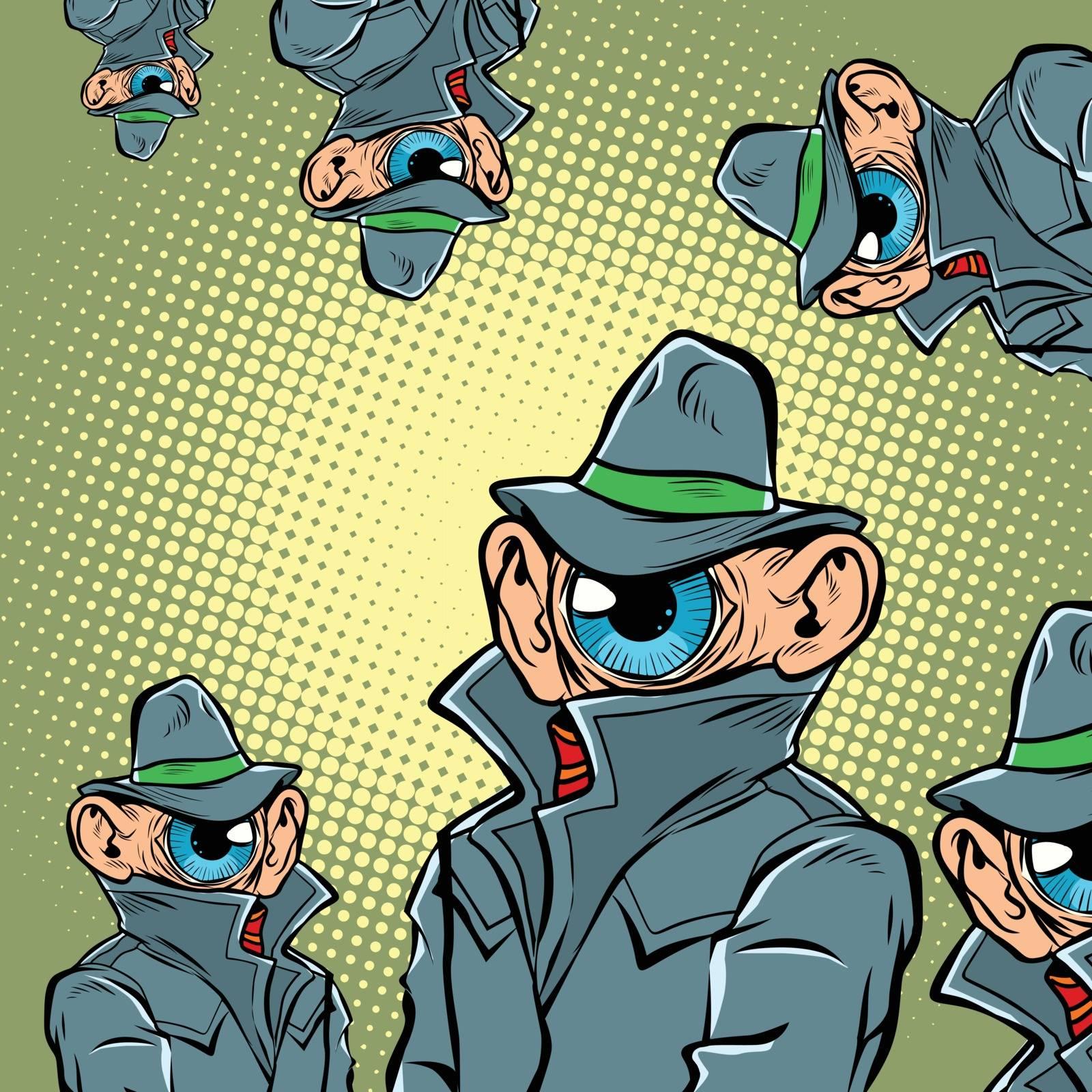 spy eye surveillance. Comic cartoon pop art retro vector illustration hand drawing