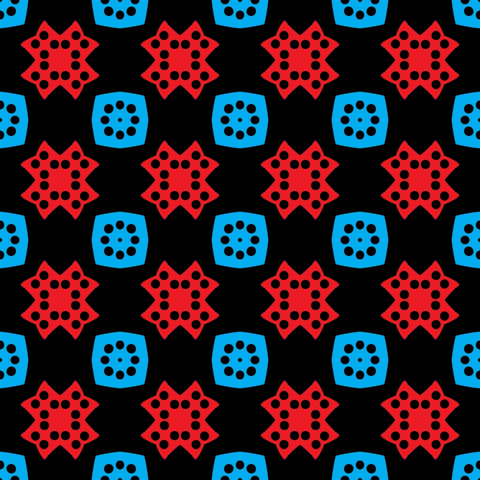 Seamless illustrated pattern made of abstract elements in red, blue and black