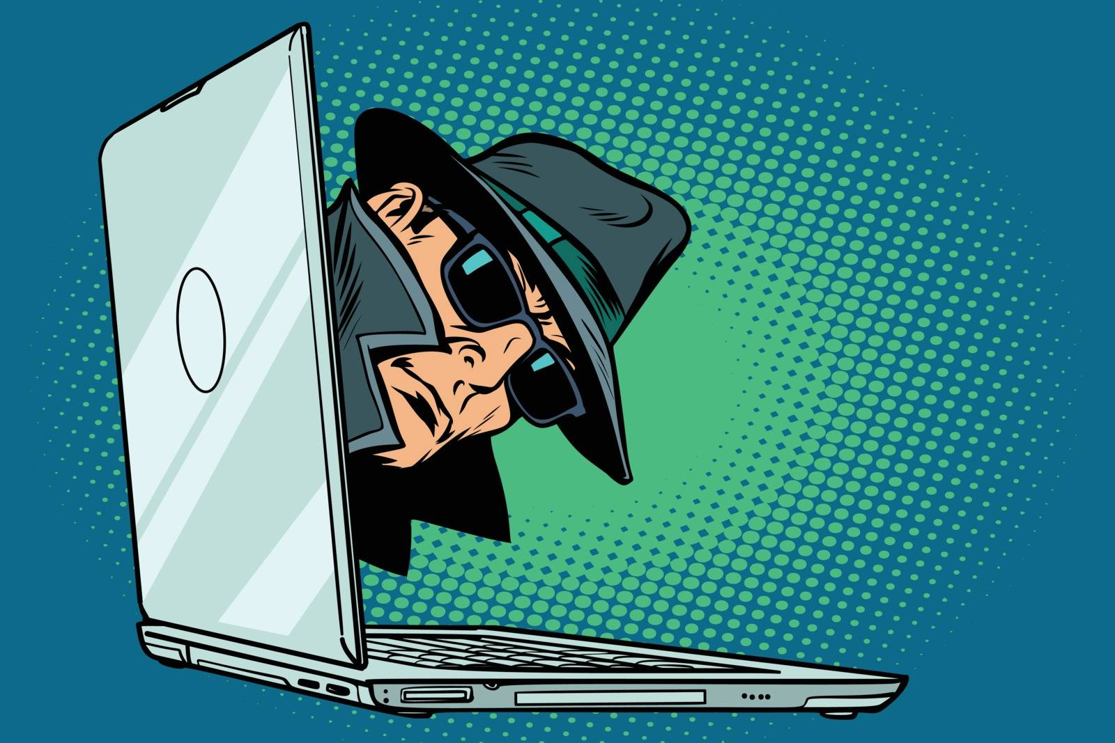 spy. laptop computer. surveillance and hacking. Comic cartoon pop art retro vector illustration