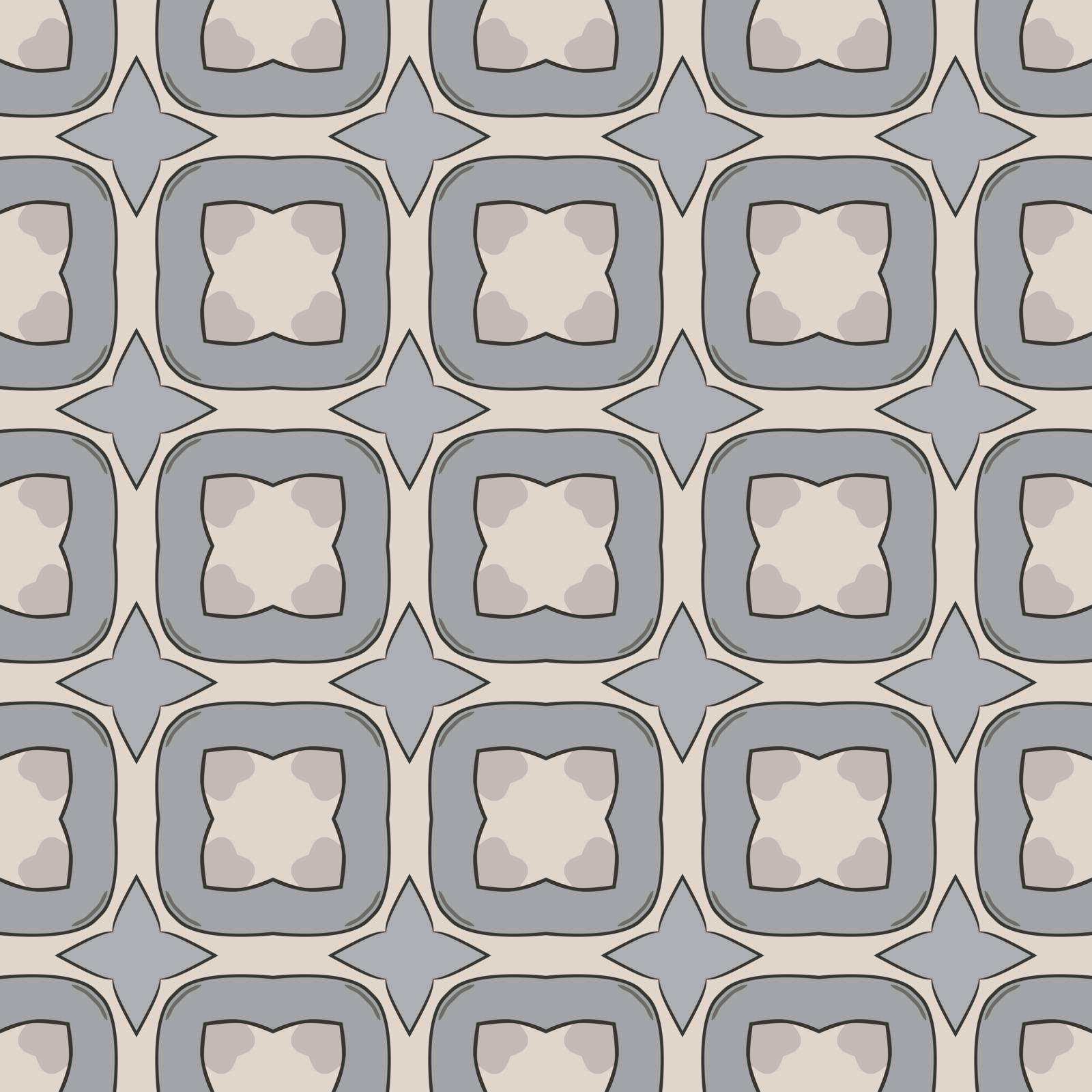 Seamless illustrated pattern made of abstract elements in beige, gray and light blue
