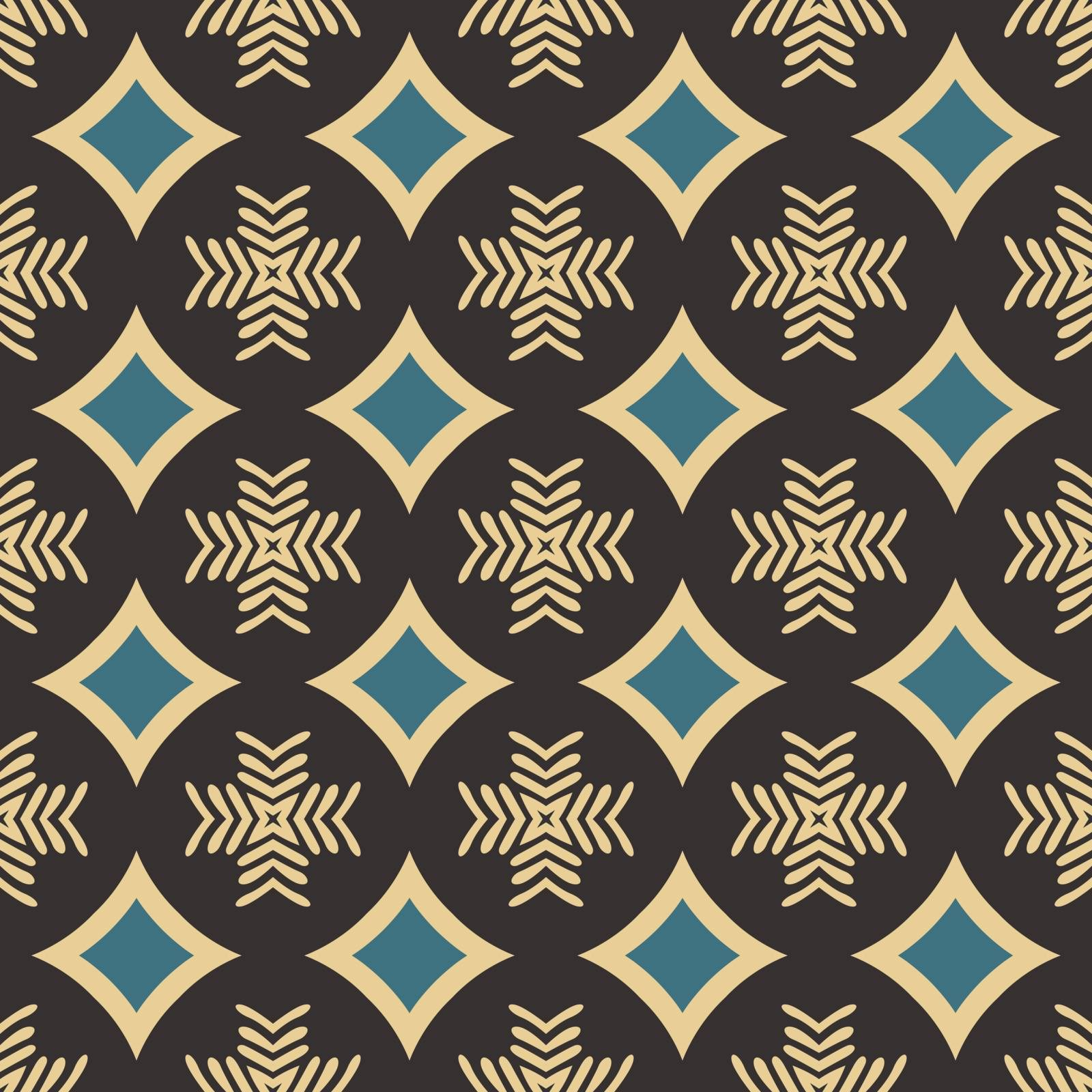 Seamless illustrated pattern made of abstract elements in beige, blue and black