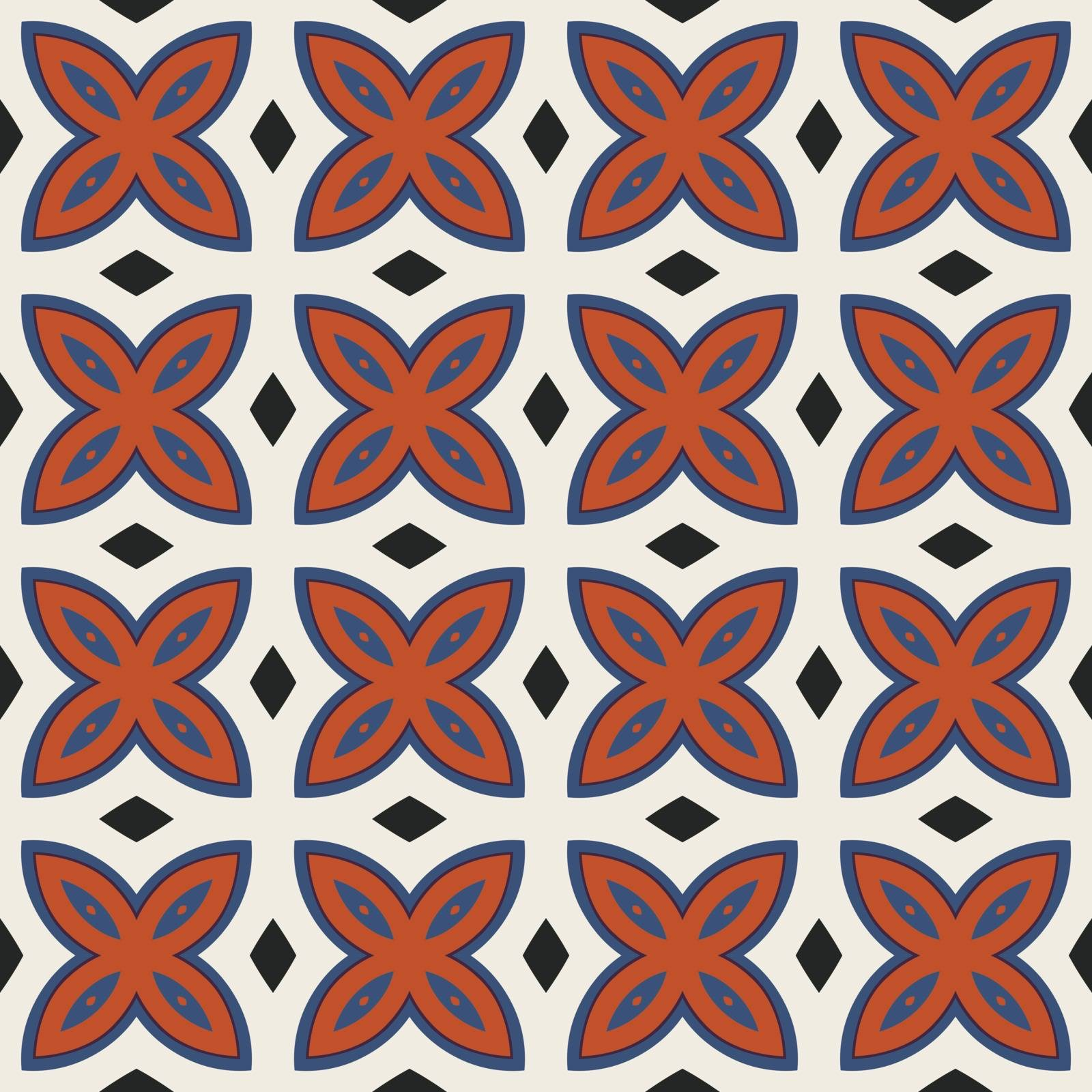 Seamless illustrated pattern made of abstract elements in beige, red, blue and black