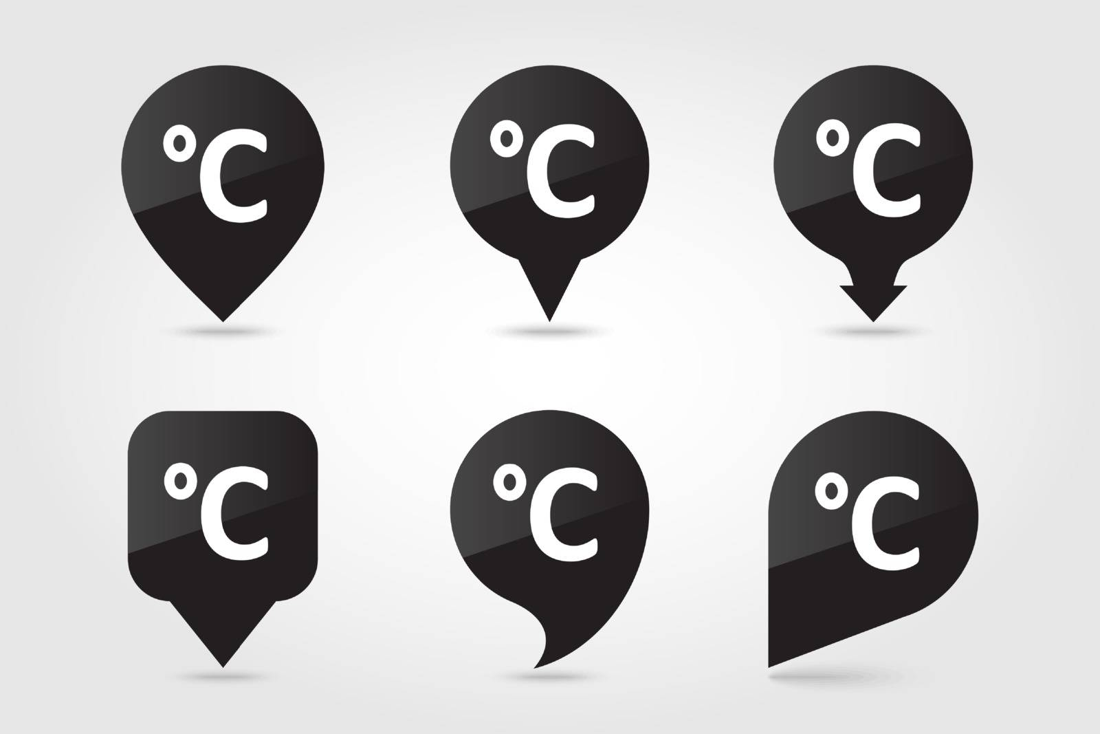 Degrees Celsius outline pin map icon. Map pointer. Map markers. Meteorology. Weather. Vector illustration eps 10