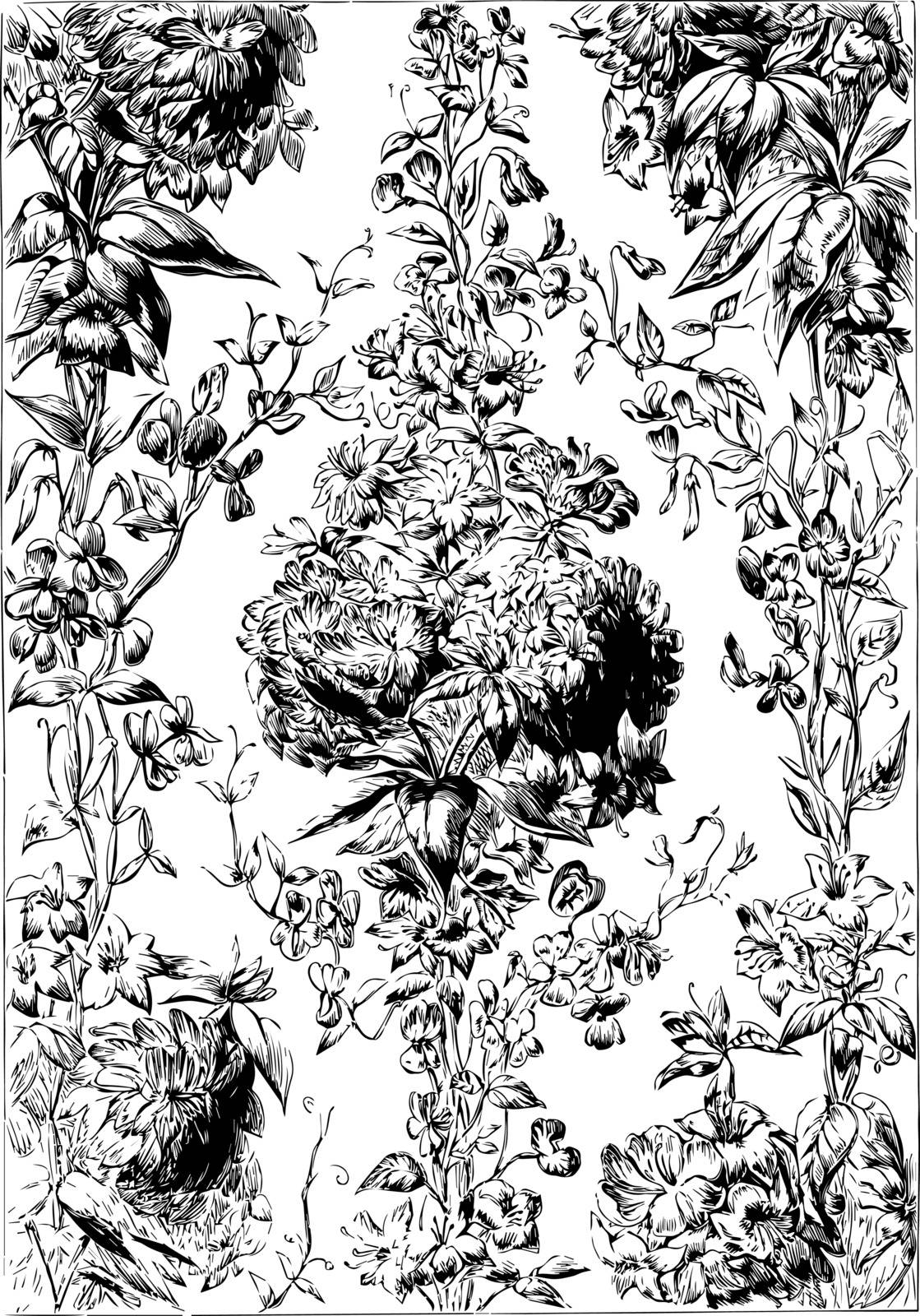 Chintz Fabric  is a cotton fabric imprinted with a colorful floral pattern, vintage line drawing or engraving illustration.