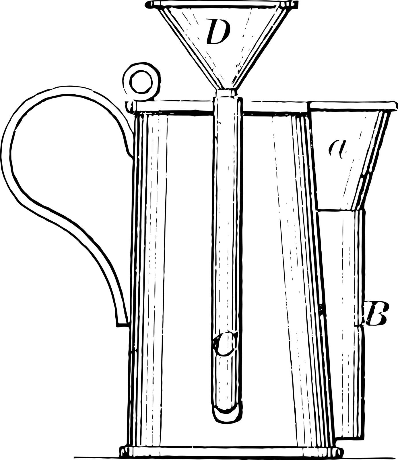 This illustration represents Beer Measurement which is used to measure the degrees Lovibond of beer vintage line drawing or engraving illustration.