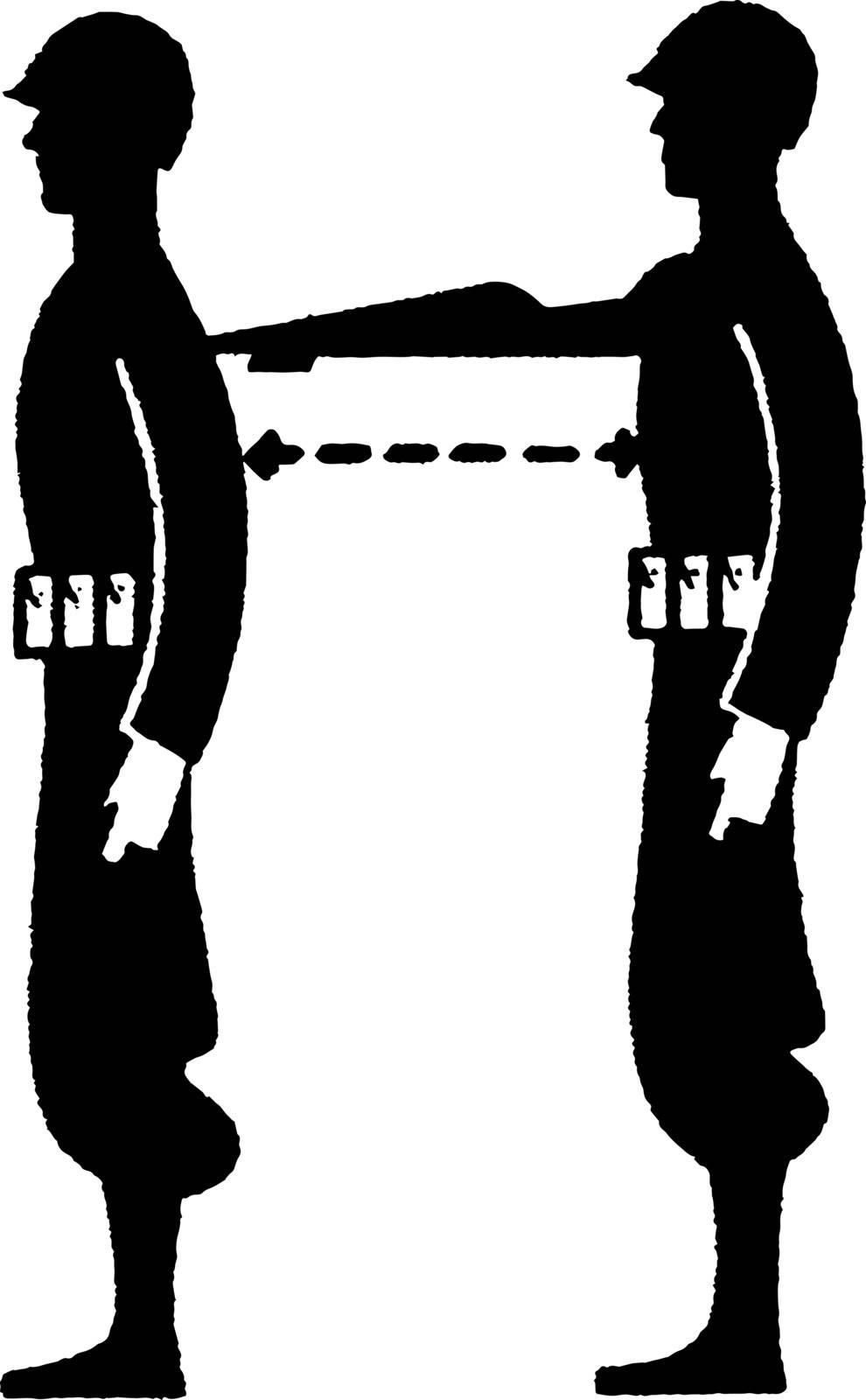 Military Distance Measurement, vintage illustration. by Morphart