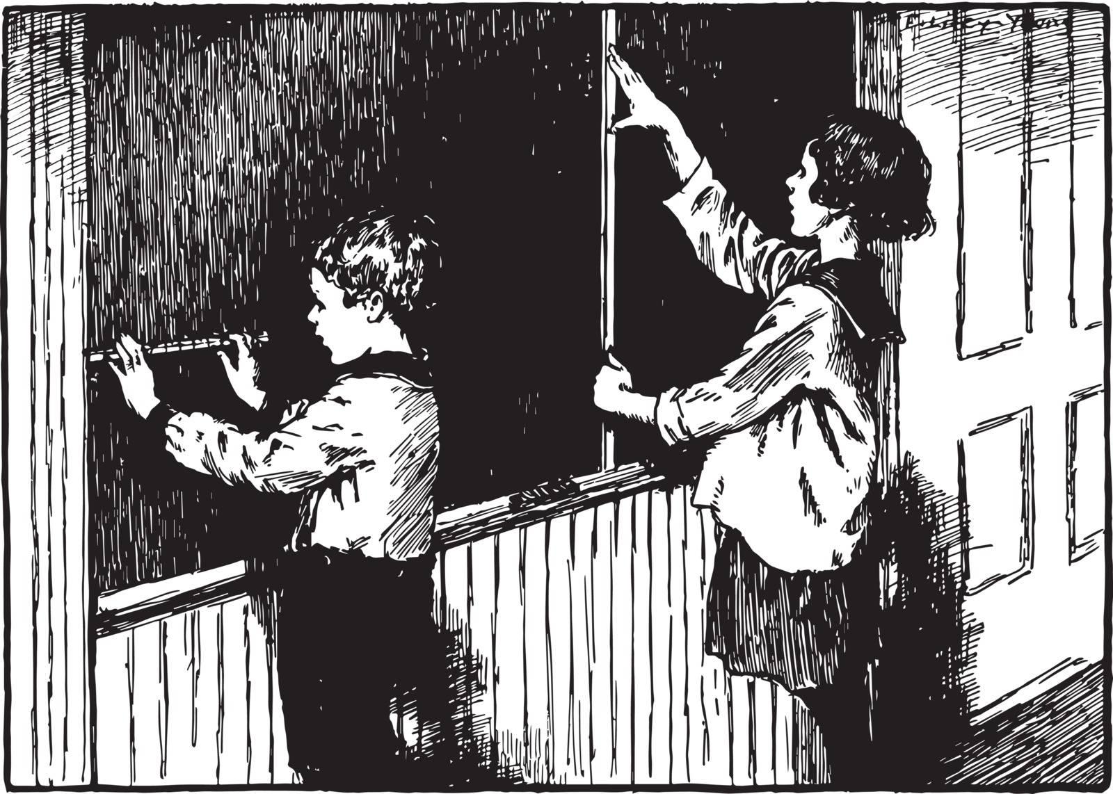 Measuring the blackboard using a ruler, chalk board, children, classroom, Ruler, vintage line drawing or engraving illustration.