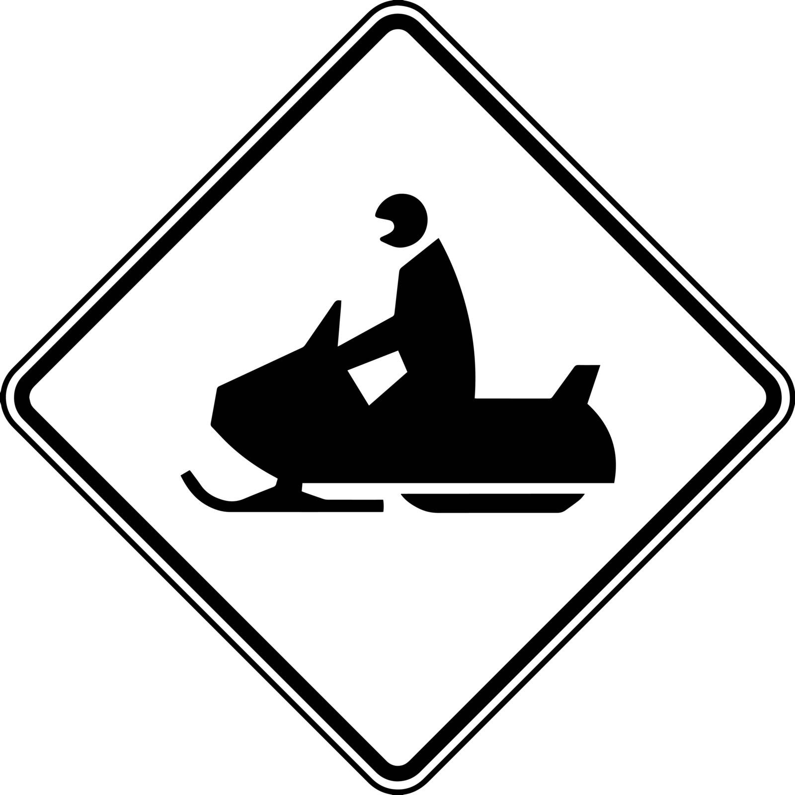 Non vehicle sign showing snow mobile crossing which gives indication to drivers for not commuting through this road, vintage line drawing or engraving illustration.