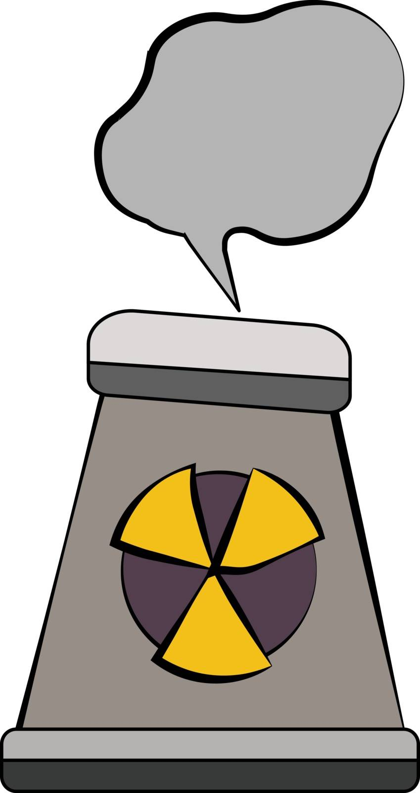 A nuclear plant with hazards sign on it is polluting the environment by billowing out the toxic C14smoke vector color drawing or illustration