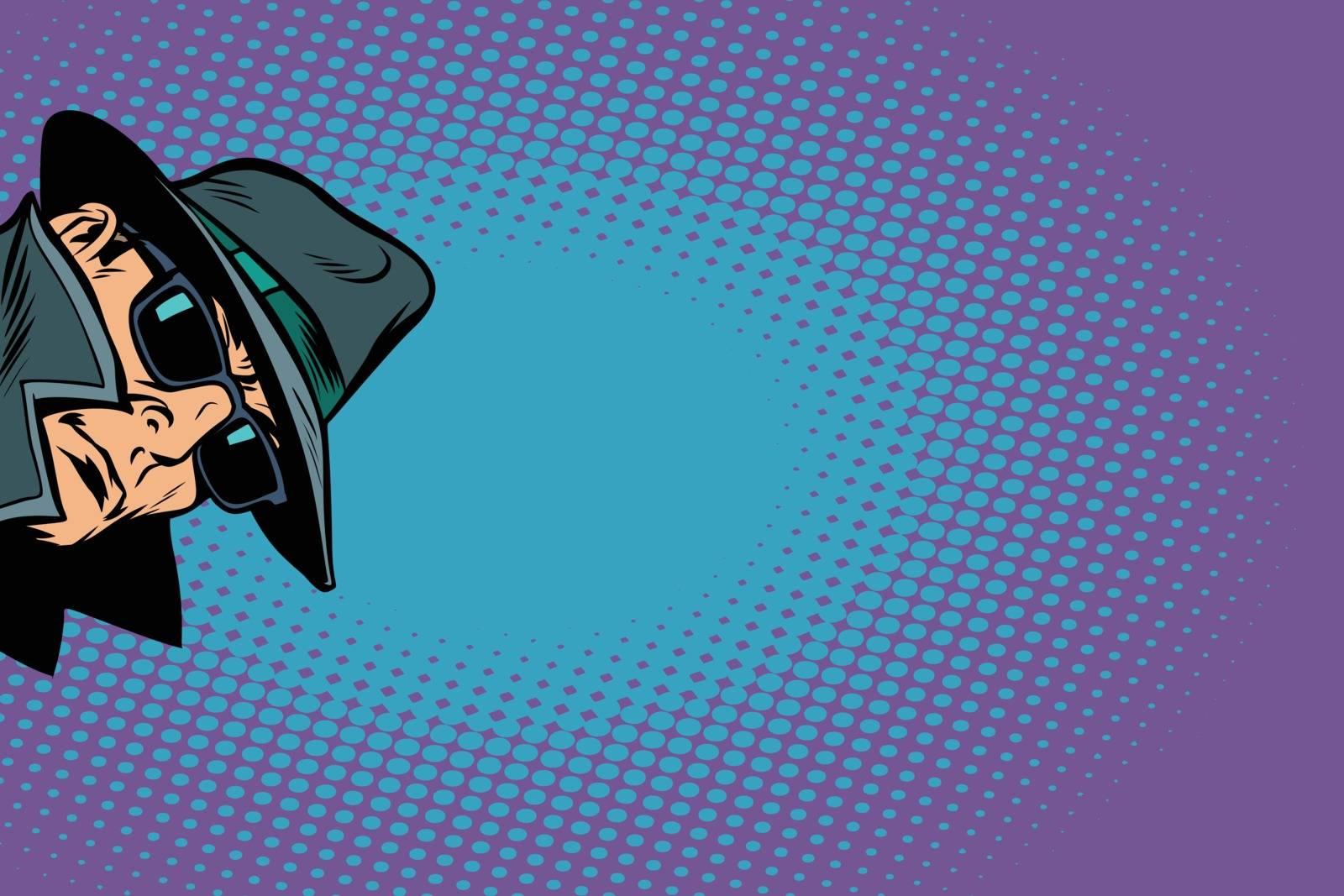 spy. surveillance and hacking. Comic cartoon pop art retro vector illustration