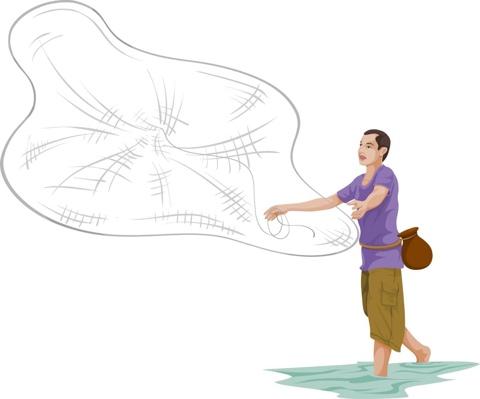 Vector illustration of man throwing fishing net.